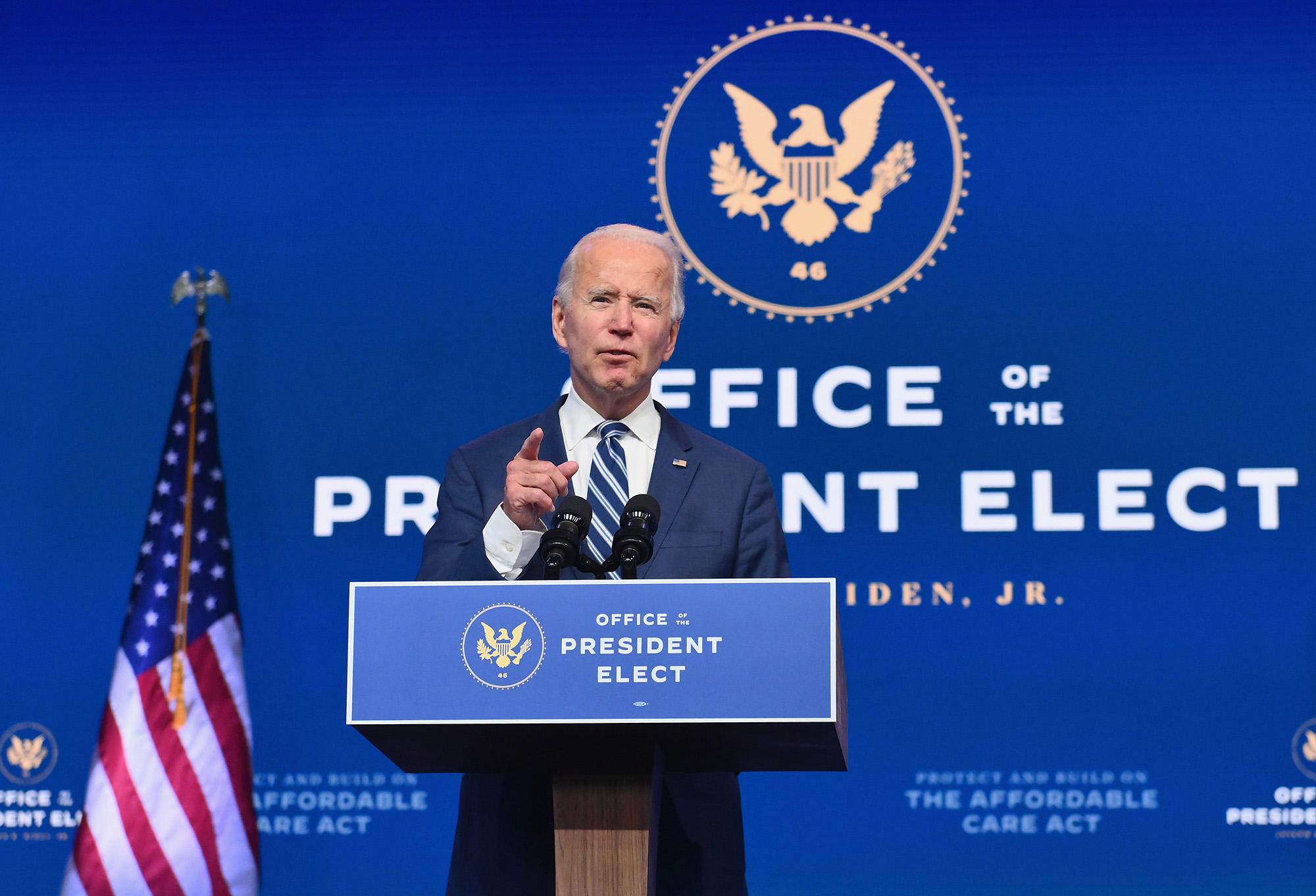 U.S. President-elect Joe Biden delivers remarks at The Queen in Wilmington, Delaware, on November 10.