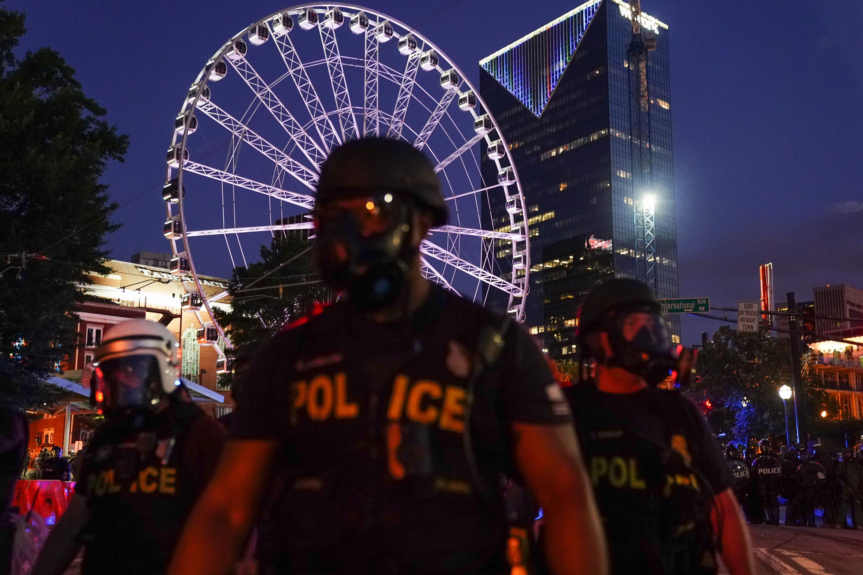 Police officers are seen during a demonstration in Atlanta on May 31.