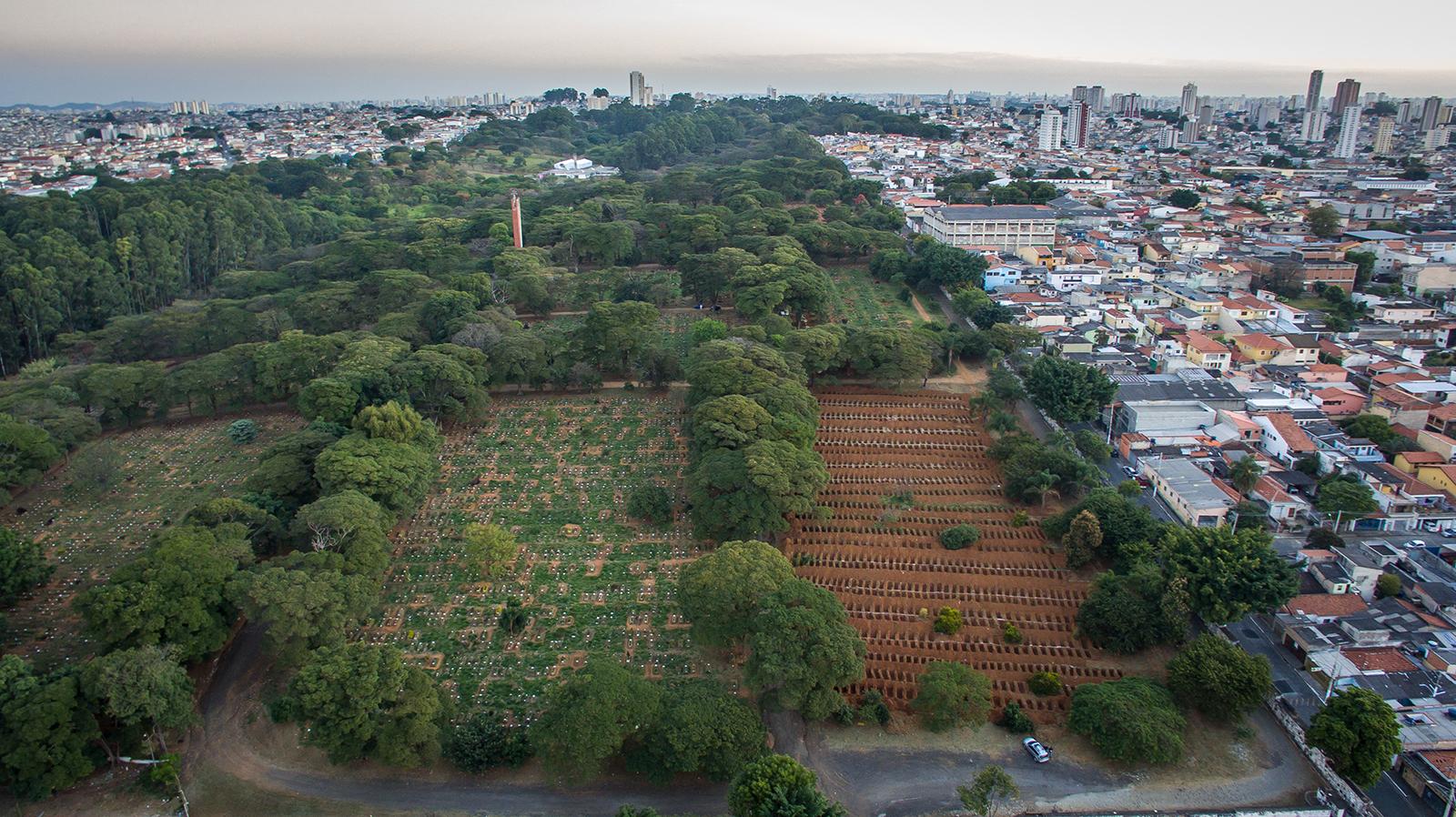 Open graves are prepared in the Vila Formosa cemetery in Sao Paulo, Brazil, on April 29.