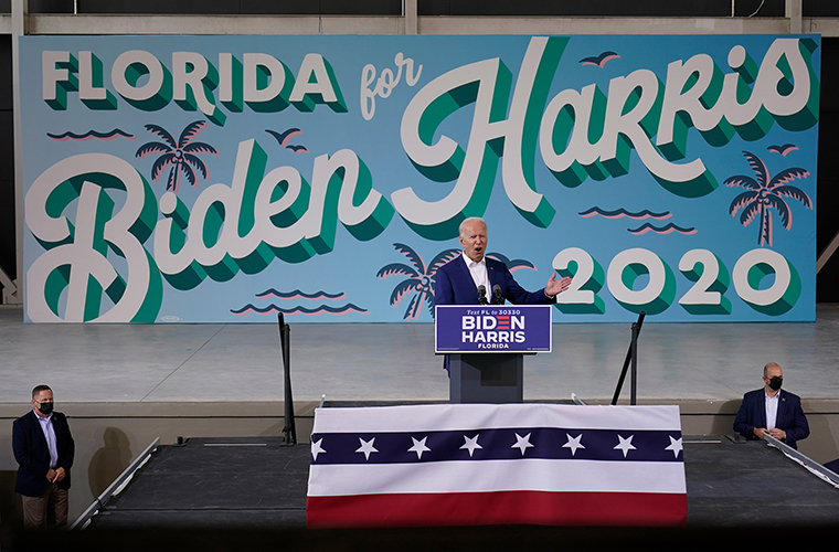 Democratic presidential candidate former Vice President Joe Biden speaks at Miramar Regional Park in Miramar, Florida, on Tuesday October 13.