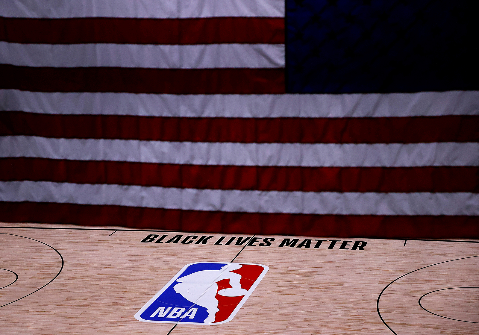 The Black Lives Matter logo is seen on an empty court as all NBA playoff games were postponed today during the 2020 NBA Playoffs at The Field House at ESPN Wide World Of Sports Complex on August 27 in Lake Buena Vista, Florida.