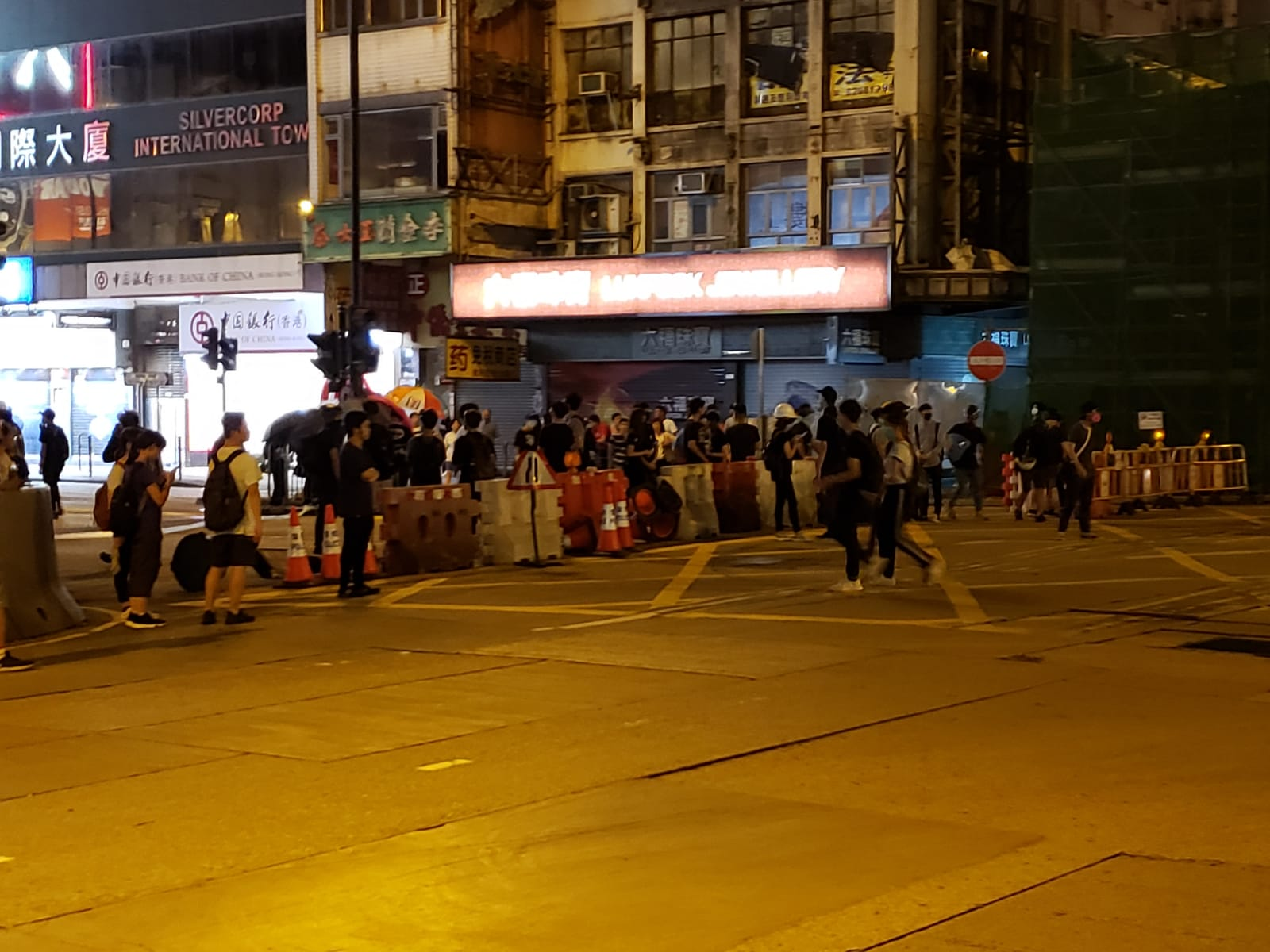 Protesters set up barricades off Nathan road.