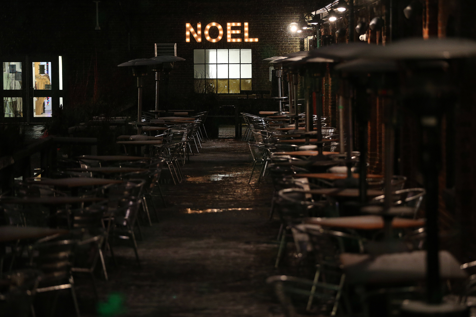 Patios sit empty in the Distillery District in Toronto on November 22.