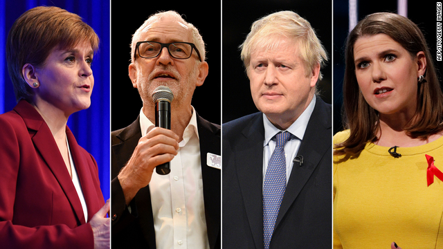 From left: Scotland's First Minister Nicola Sturgeon; Labour party leader Jeremy Corbyn; Prime Minister Boris Johnson; Leader of the Liberal Democrats Jo Swinson. Photos: AFP/ITV/Getty Images