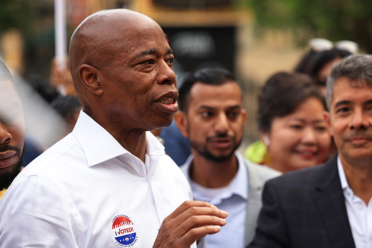 New York City mayoral candidate Eric Adams speaks after voting during Primary Election Day on June 22, in the Bedford-Stuyvesant neighborhood of Brooklyn in New York City.