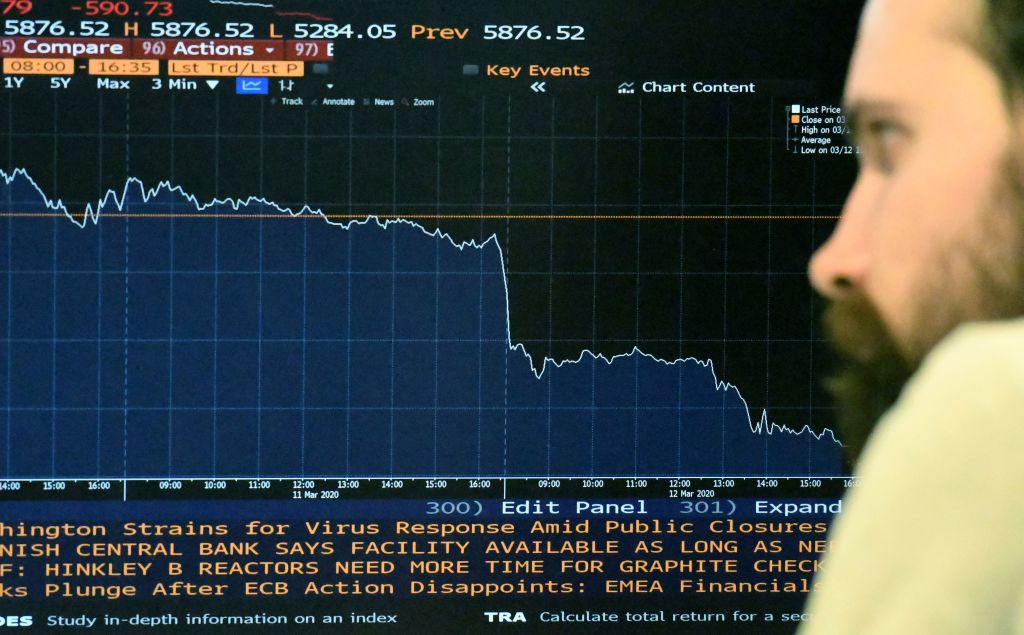 A screen displaying London Exchange's FTSE-100 in London on Thursday.