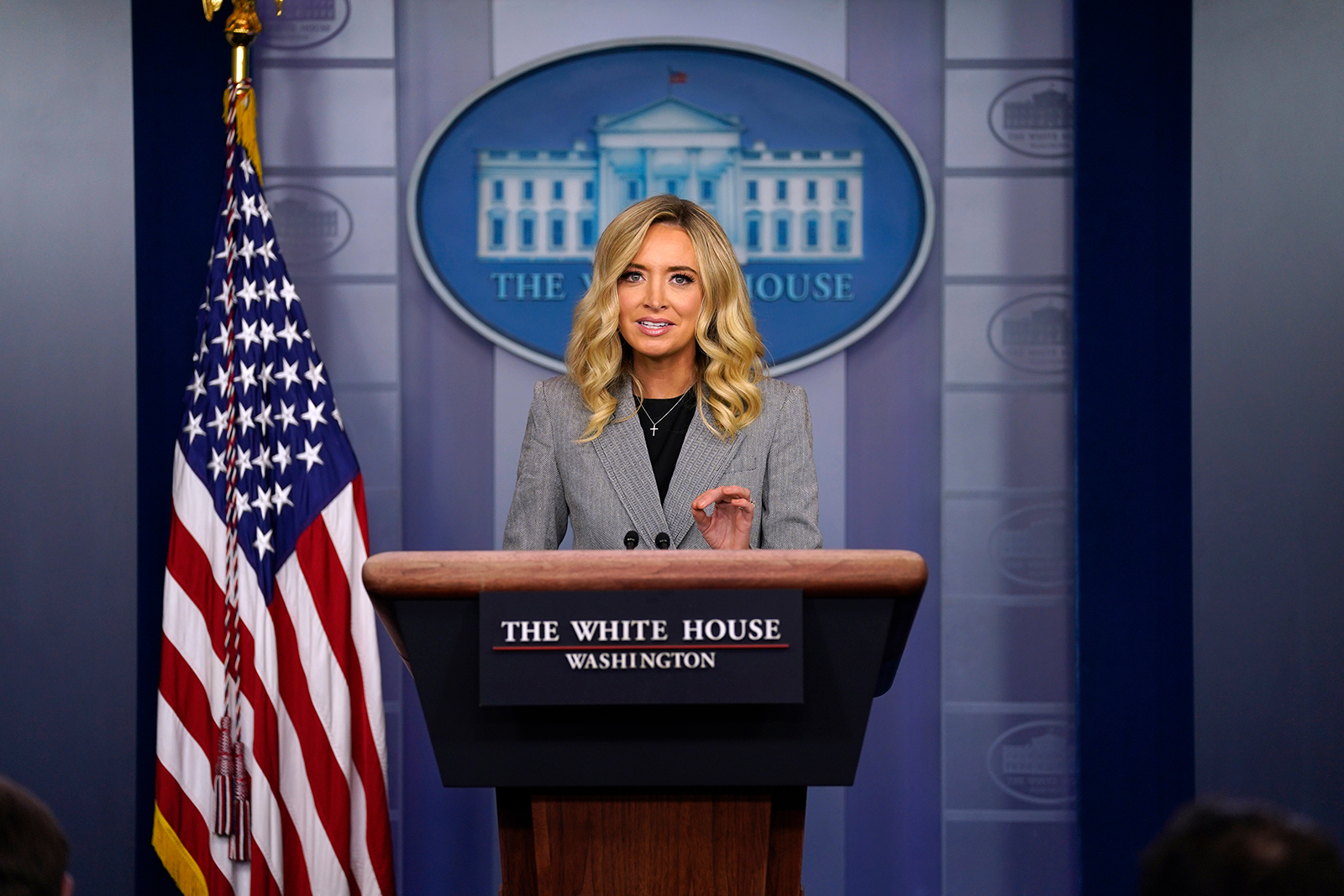 White House press secretary Kayleigh McEnany speaks during a press briefing at the White House on Friday, May 8, in Washington DC.