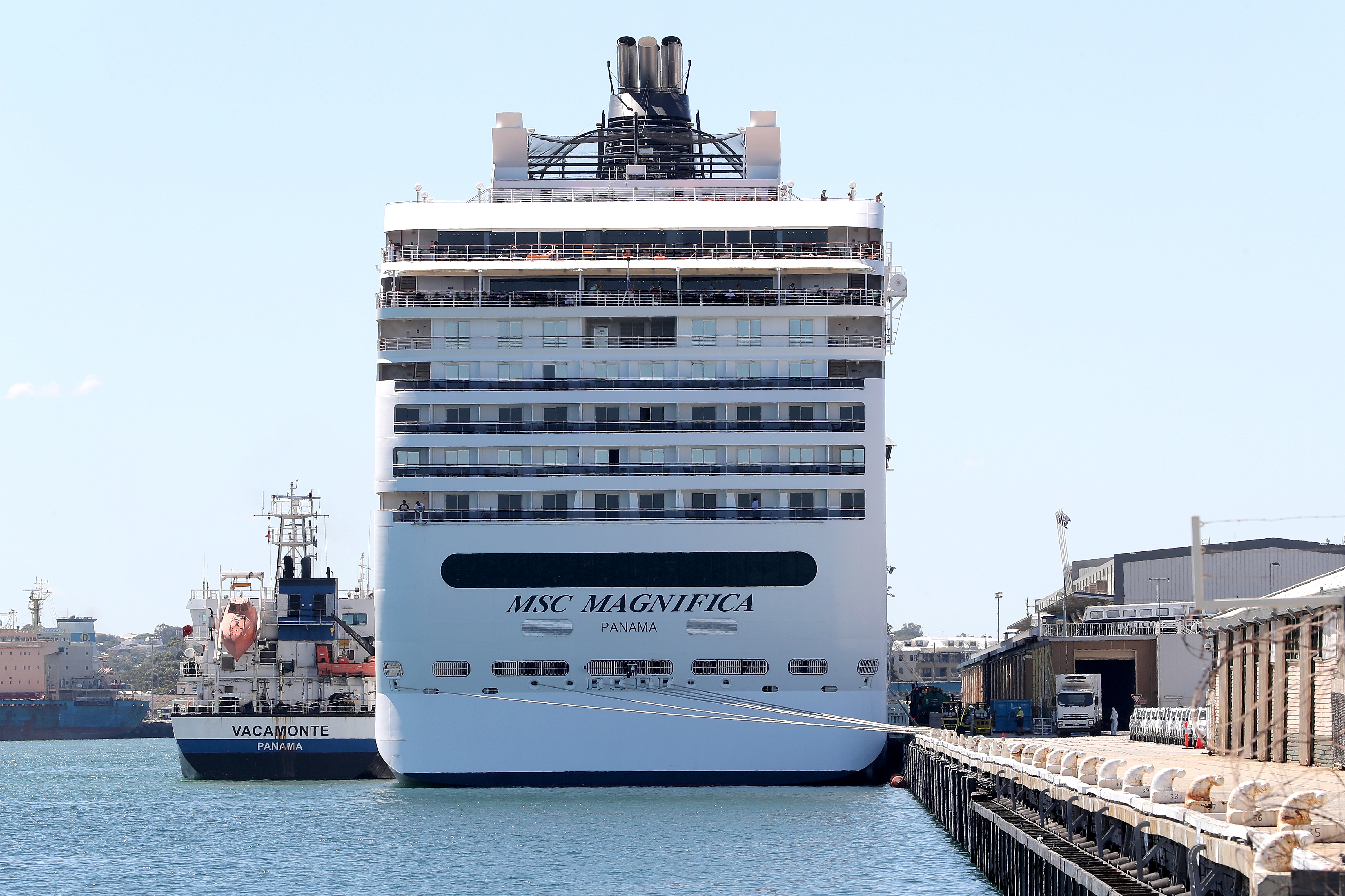 The MSC Magnifica cruise ship is seen docked in Fremantle Harbour near Perth, Australia, on March 24.