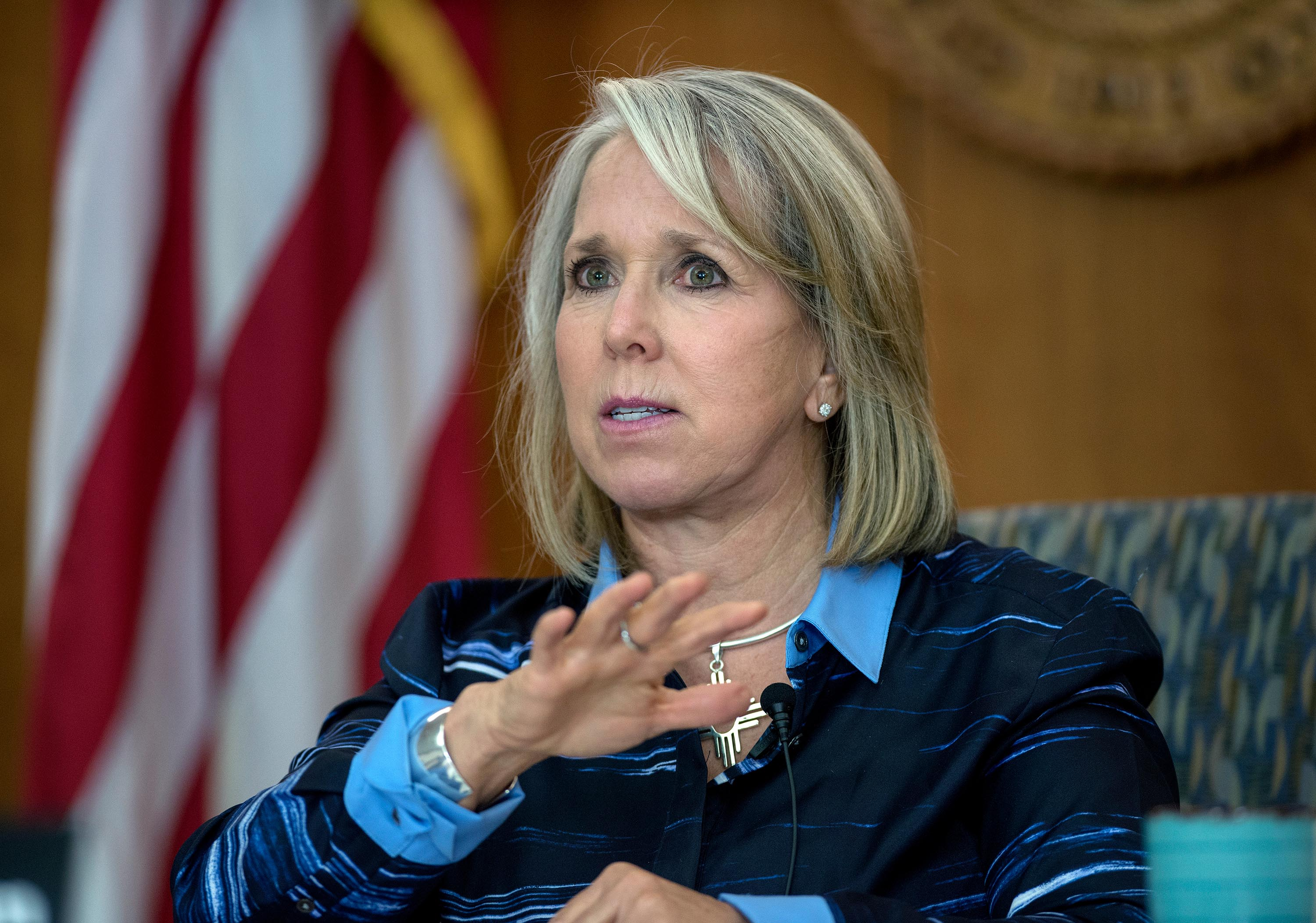 New Mexico Gov. Michelle Lujan Grisham speaks during a virtual news conference from the state Capitol in Santa Fe, New Mexico, on July 23.
