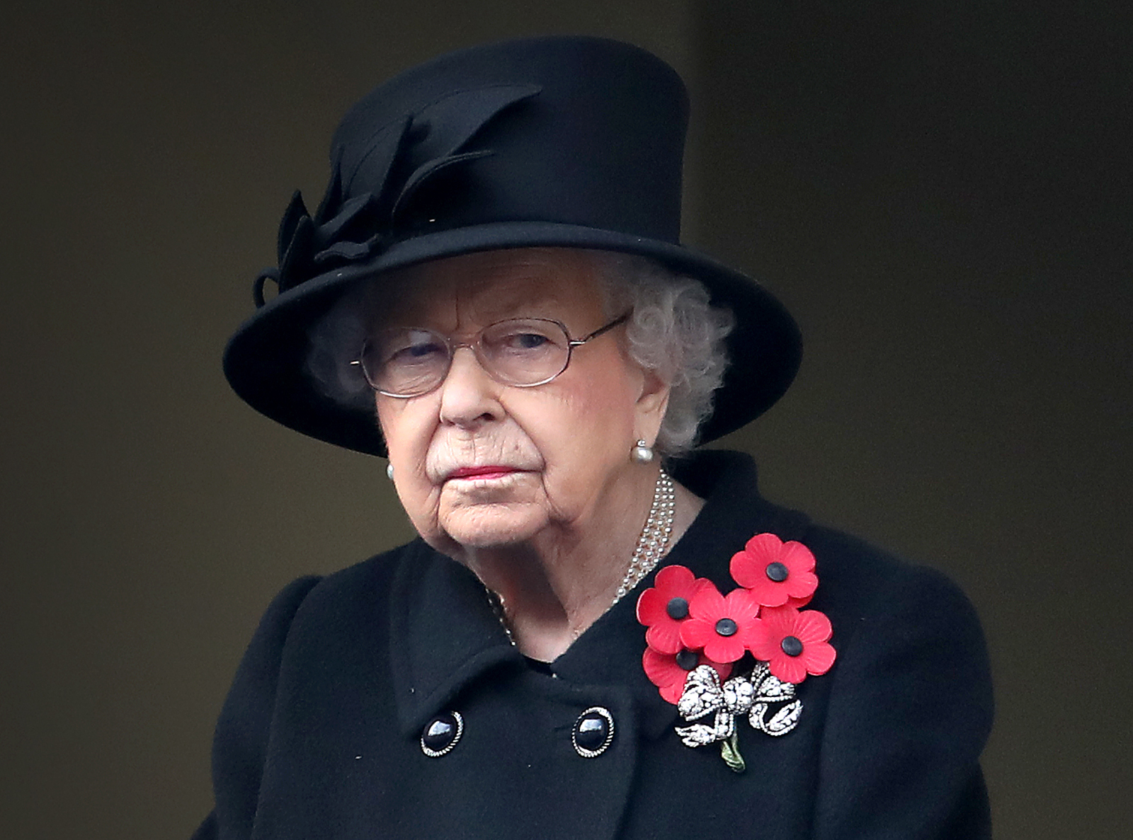 Queen Elizabeth II watched during the Cenotaph Memorial Service at the Cenotaph on November 8, 2020 in London, England.