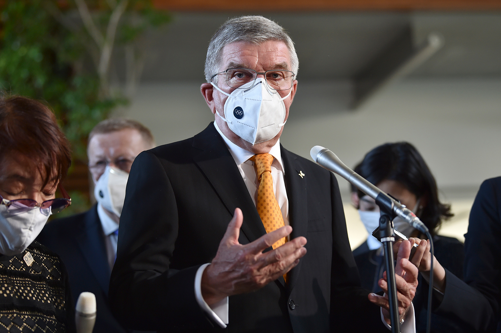 International Olympic Committee (IOC) President Thomas Bach speaks to the media after his meeting with Japan's prime minister in Tokyo, on November 16.
