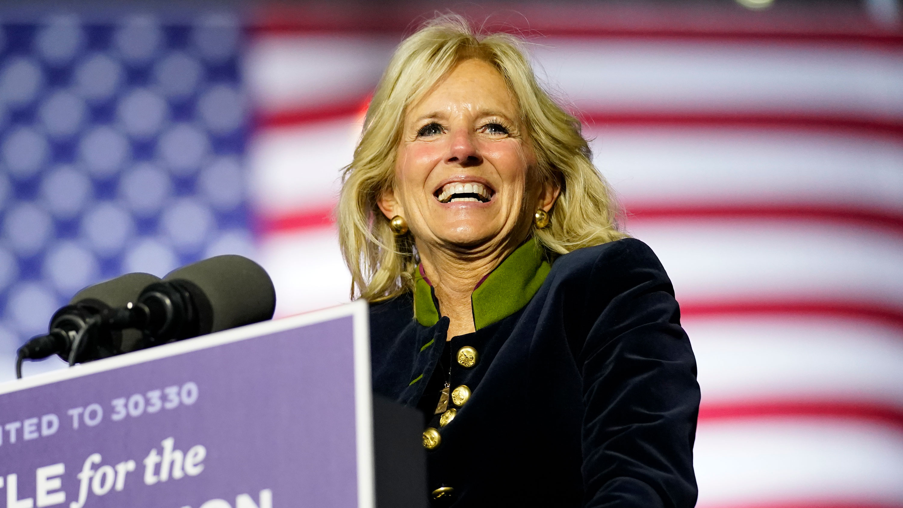 Jill Biden speaks during a campaign rally at Heinz Field on November 2 in Pittsburgh, Pennsylvania.