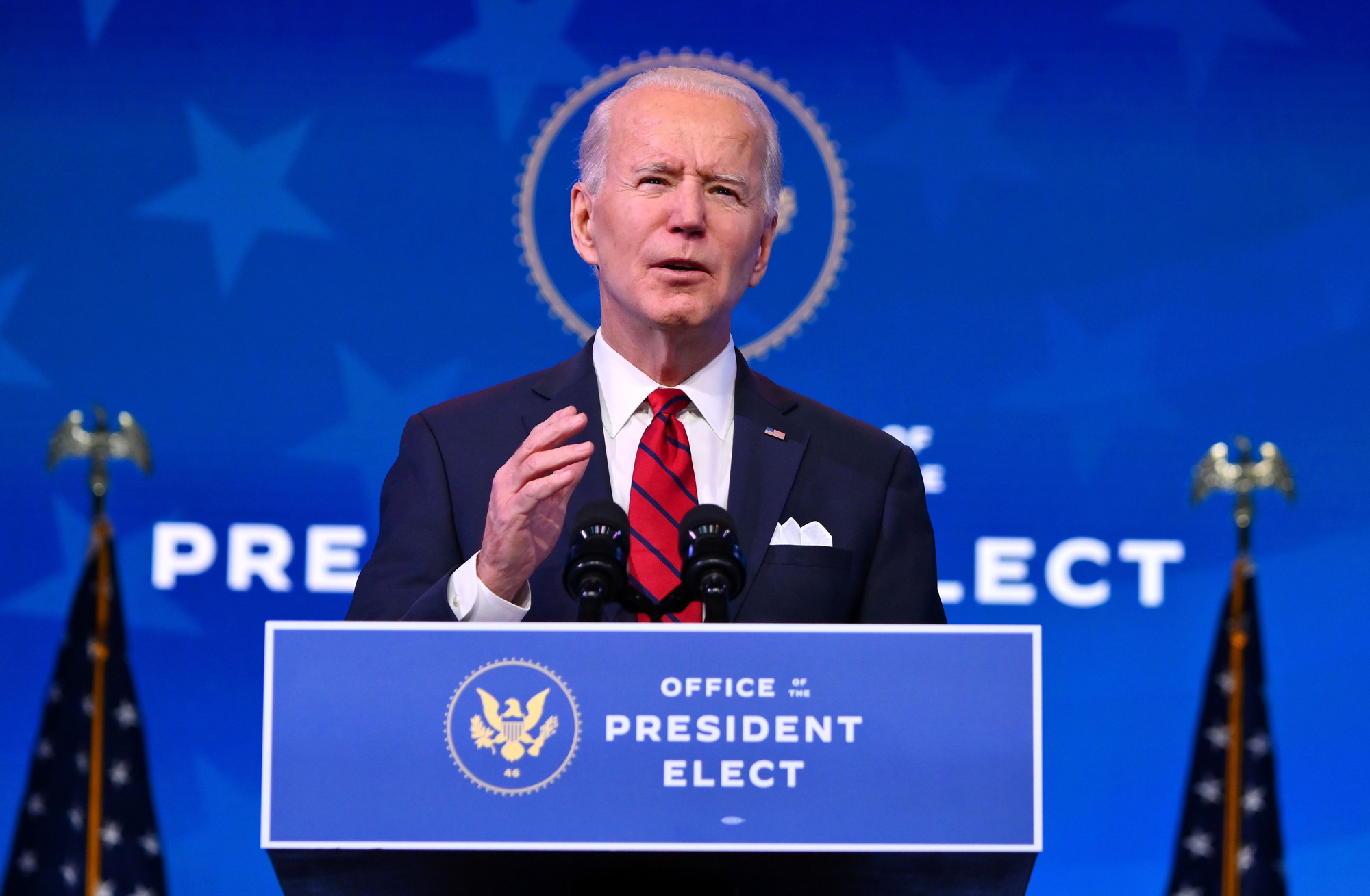 President-elect Joe Biden delivers remarks on his plan to administer Covid-19 vaccines at The Queen theater in Wilmington, Delaware on January 15.