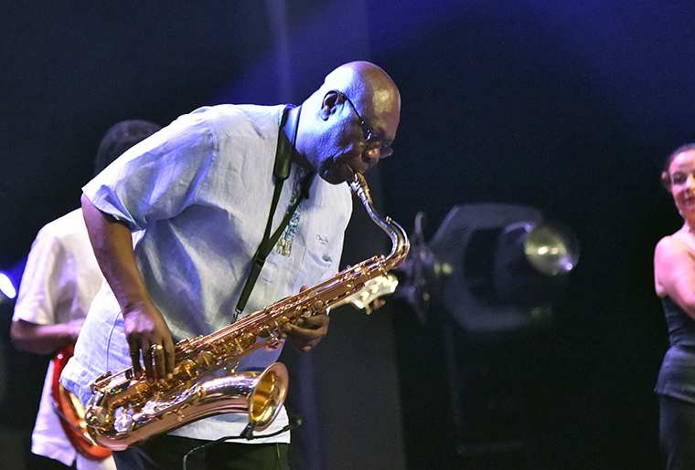 Manu Dibango performs on June 29, 2018 at the Ivory Hotel Abidjan