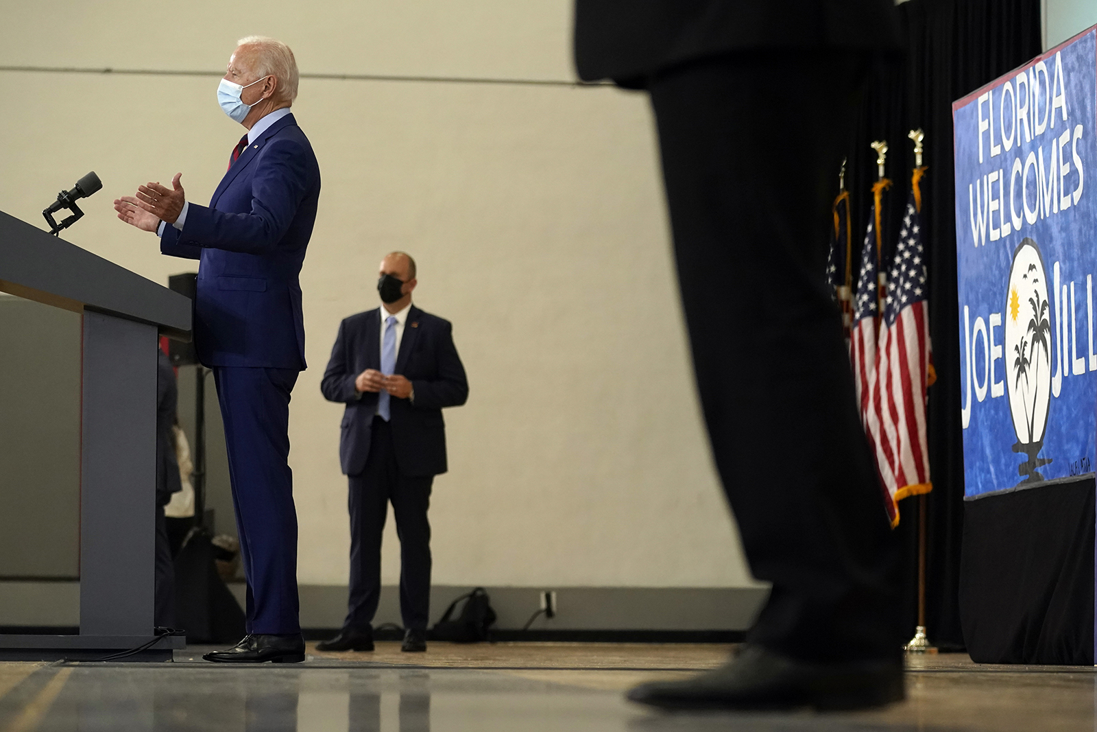 Democratic presidential candidate Joe Biden speaks at Jose Marti Gym on Monday in Miami.