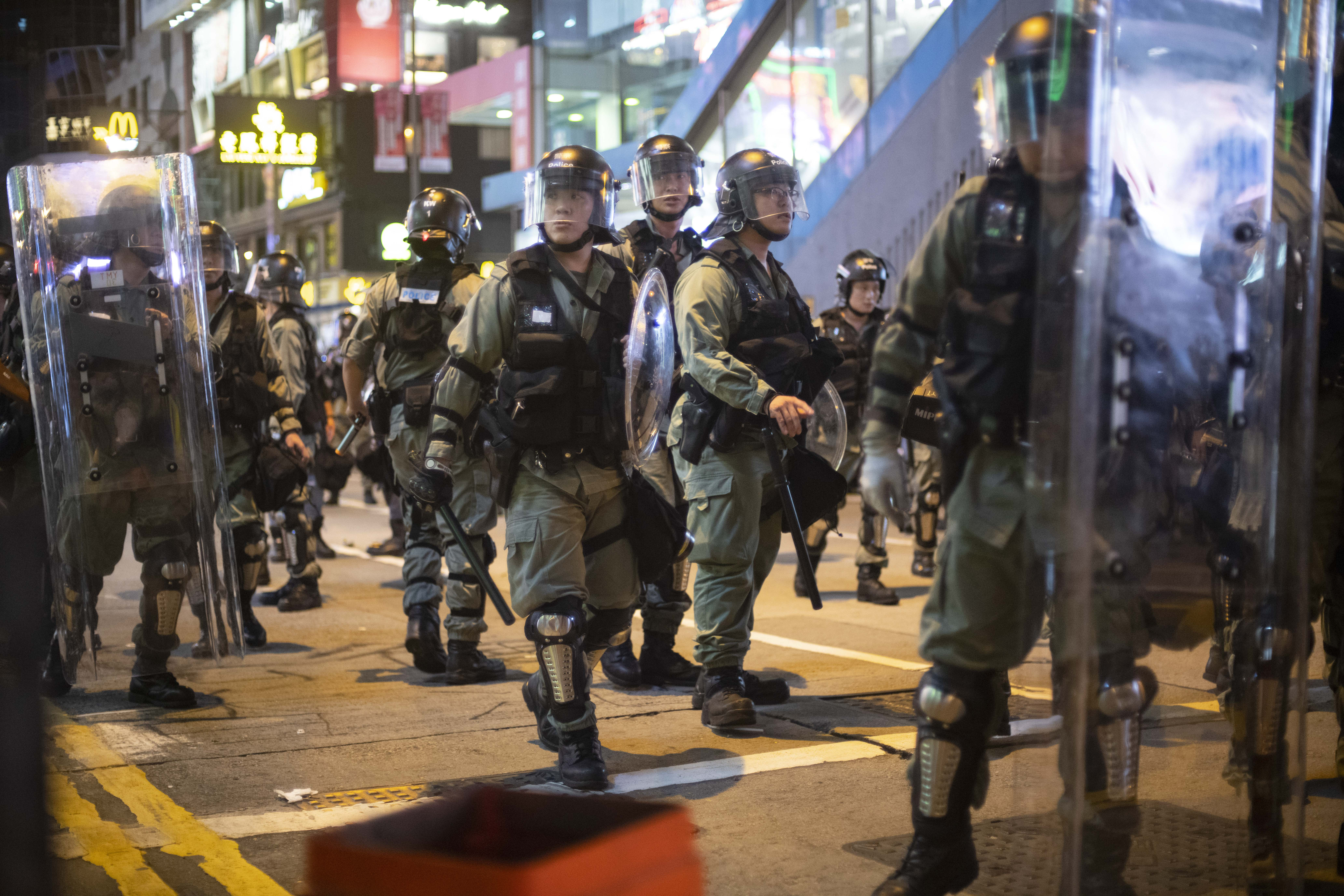 Riot police seen in Causeway Bay Sunday night.