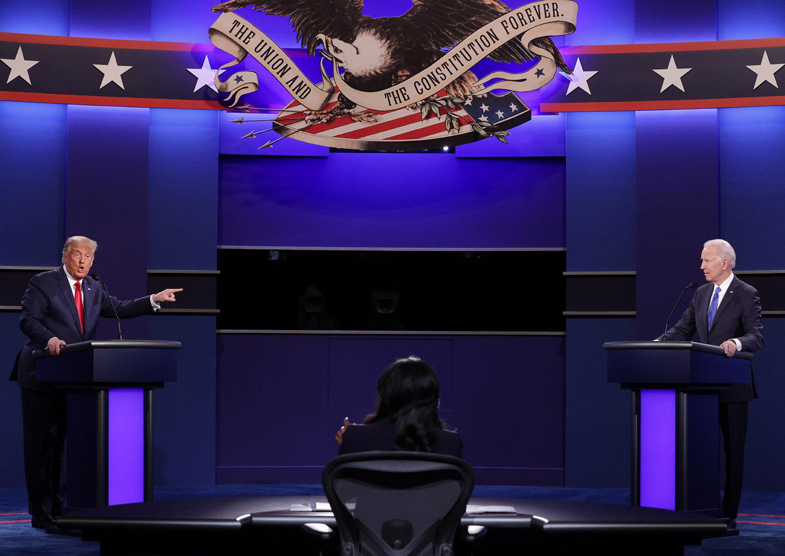 President Donald Trump and Democratic presidential nominee Joe Biden participate in the final presidential debate at Belmont University on October 22 in Nashville.