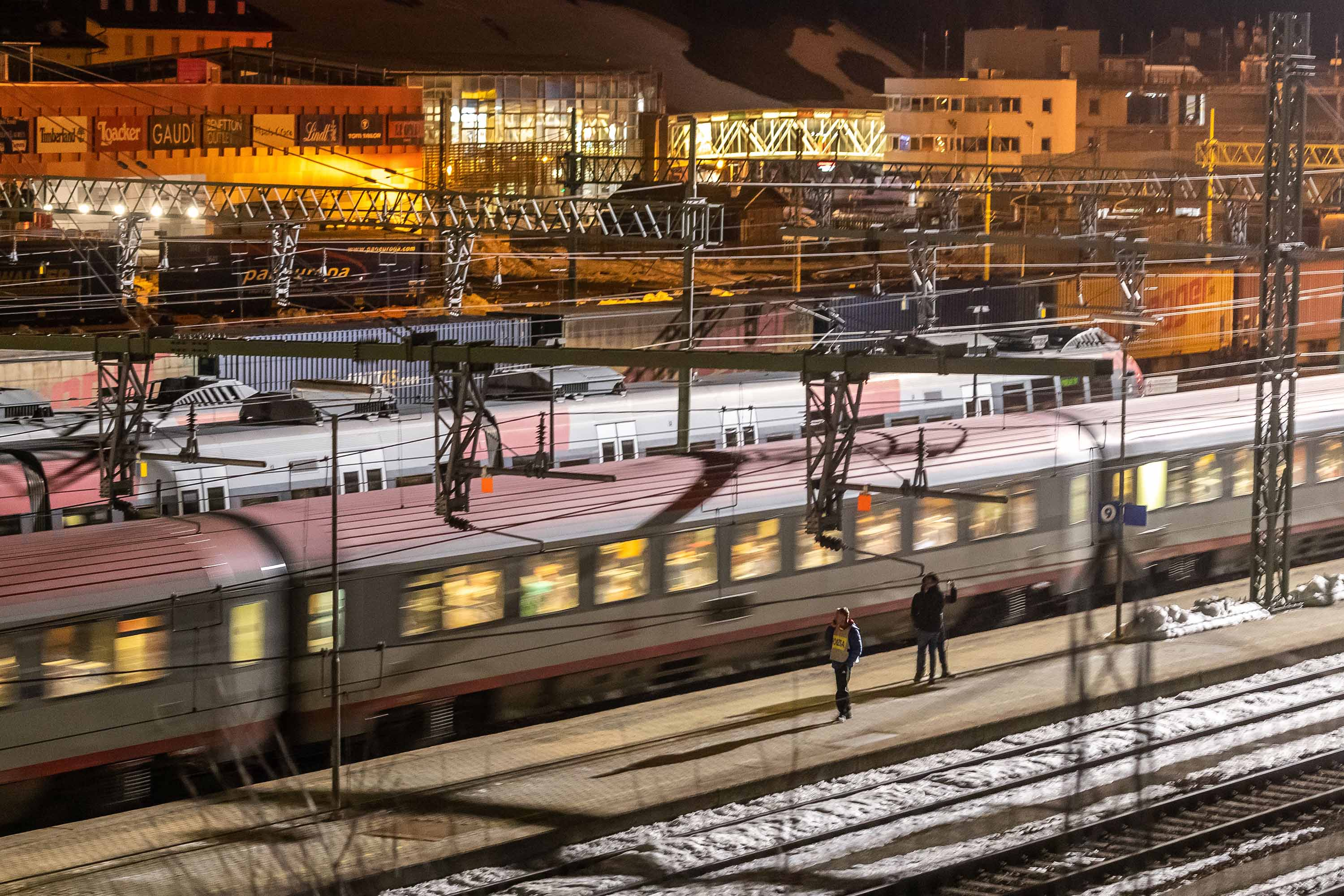 Trains are seen at the Austrian-Italian border railway station of Gries am Brenner on February 23.