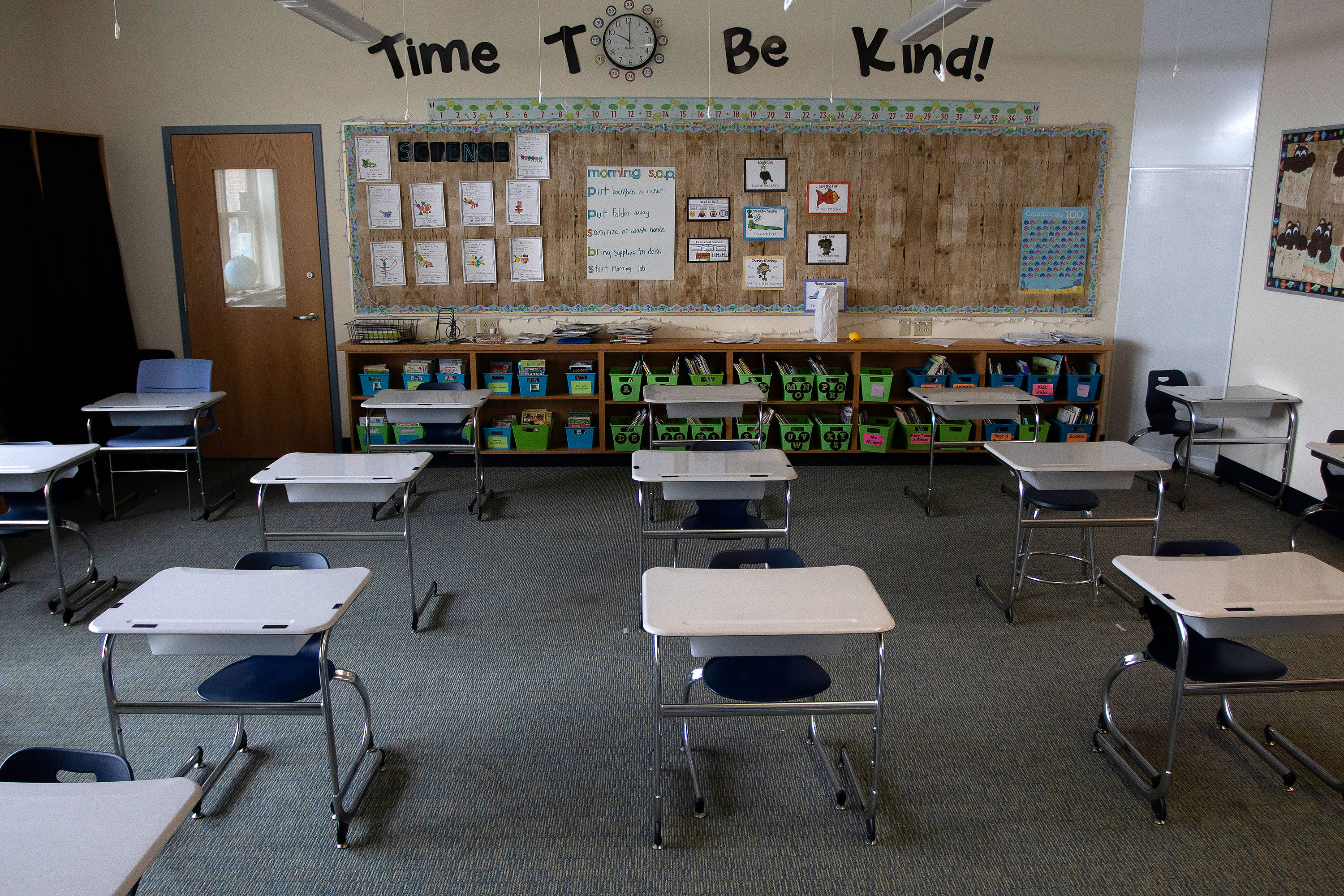 An elementary school classroom is set up in Buxton, Maine, on June 4, 2021.