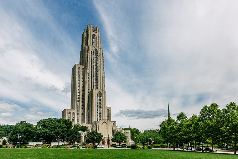 The Cathedral of Learning is seen on the University of Pittsburgh's main campus.