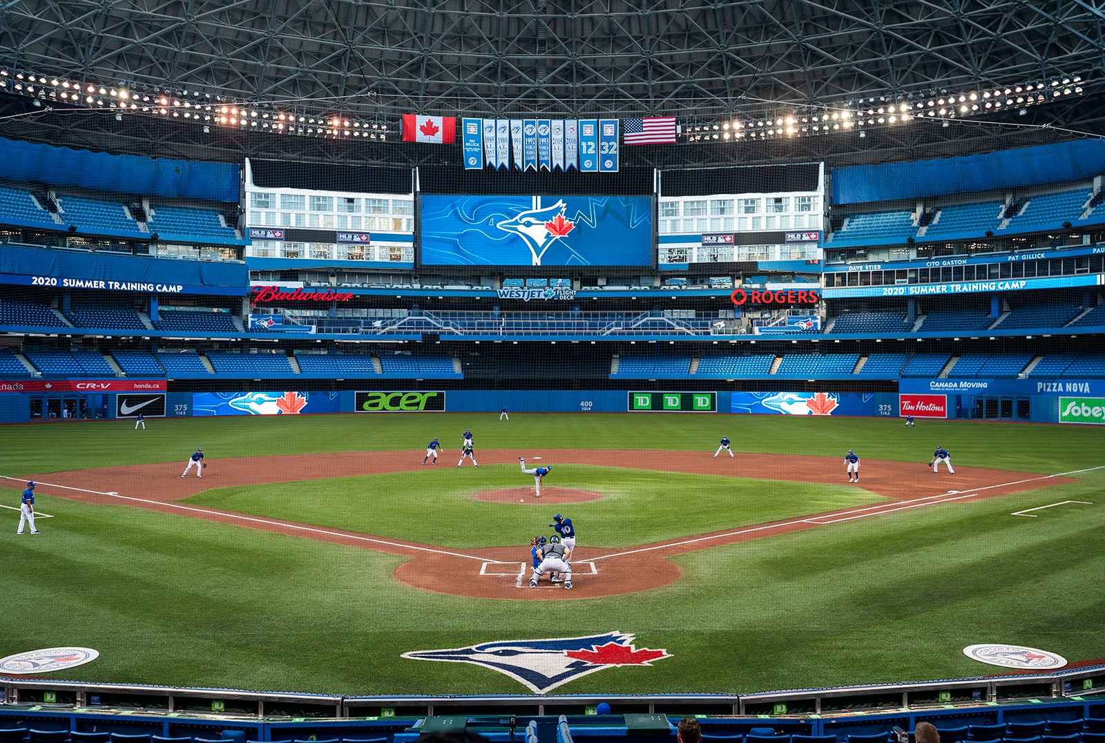 The Toronto Blue Jays play an intrasquad game at Rogers Centre in Toronto on July 9.