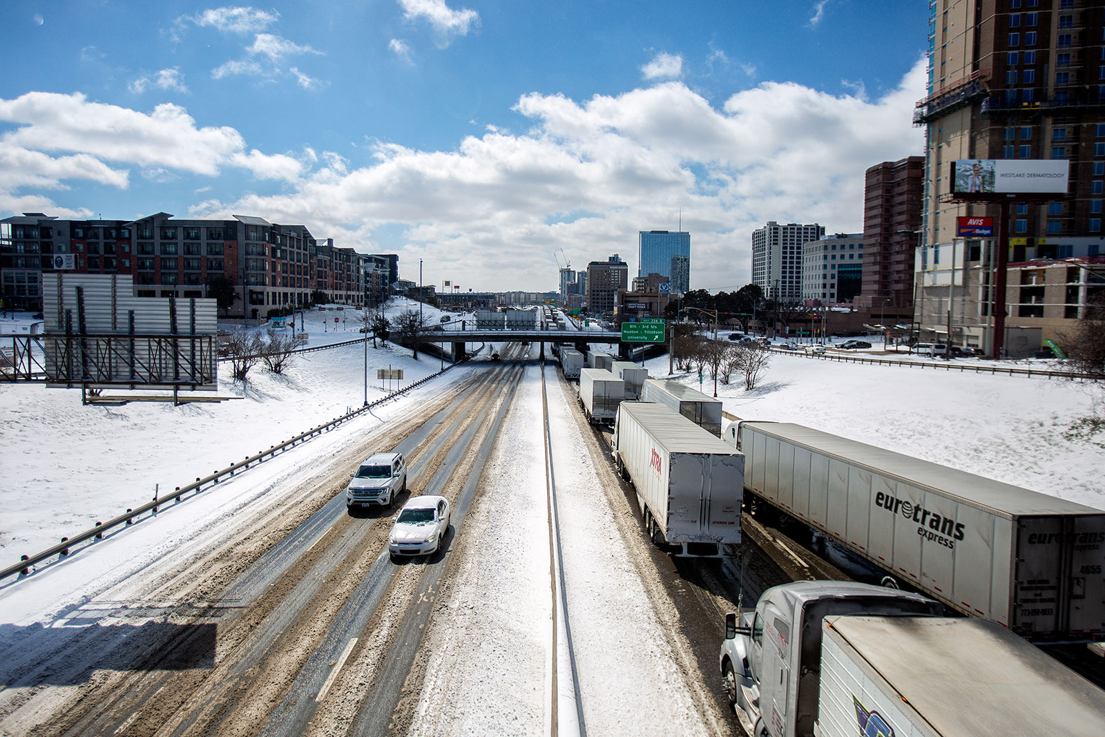 Motorists drive on I-35 in Austin, Texas, on February 15.