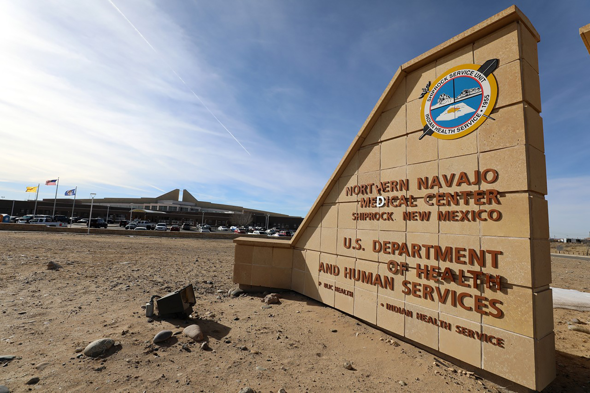 The Northern Navajo Medical Center is shown as staff inside begin to receive the COVID-19 vaccine on December 16, in Shiprock, New Mexico.