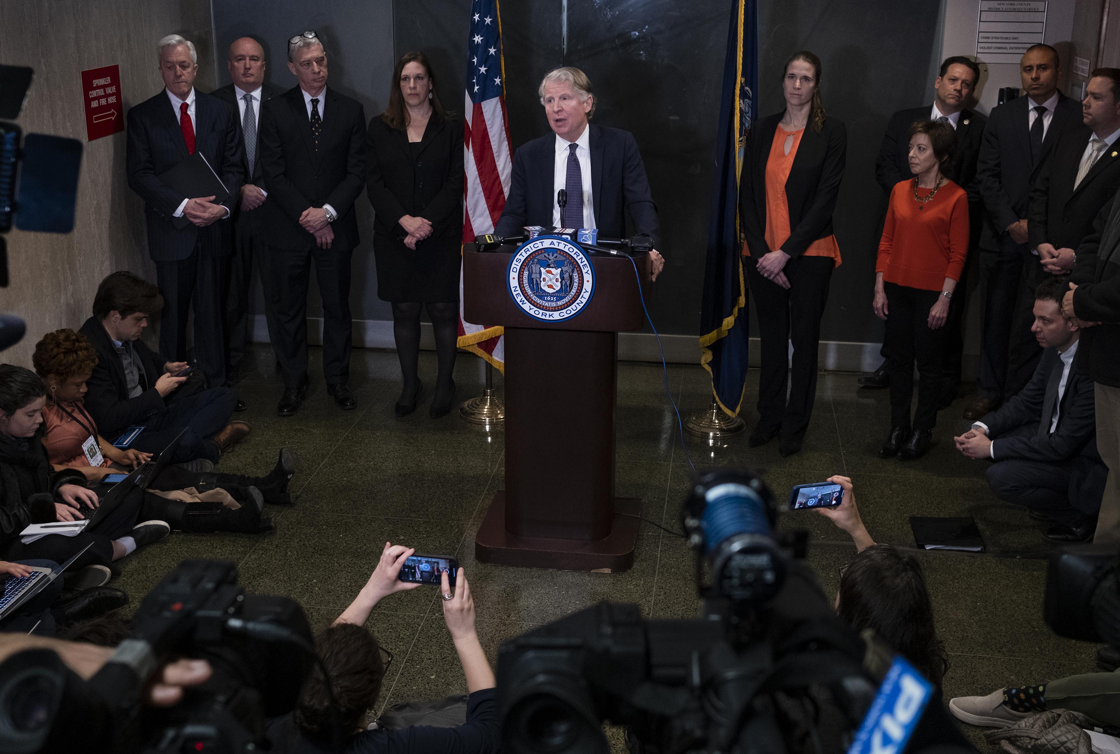 Manhattan District Attorney Cyrus Vance Jr., speaks after the verdict in the Harvey Weinstein rape trial, Monday, February 24, in New York.