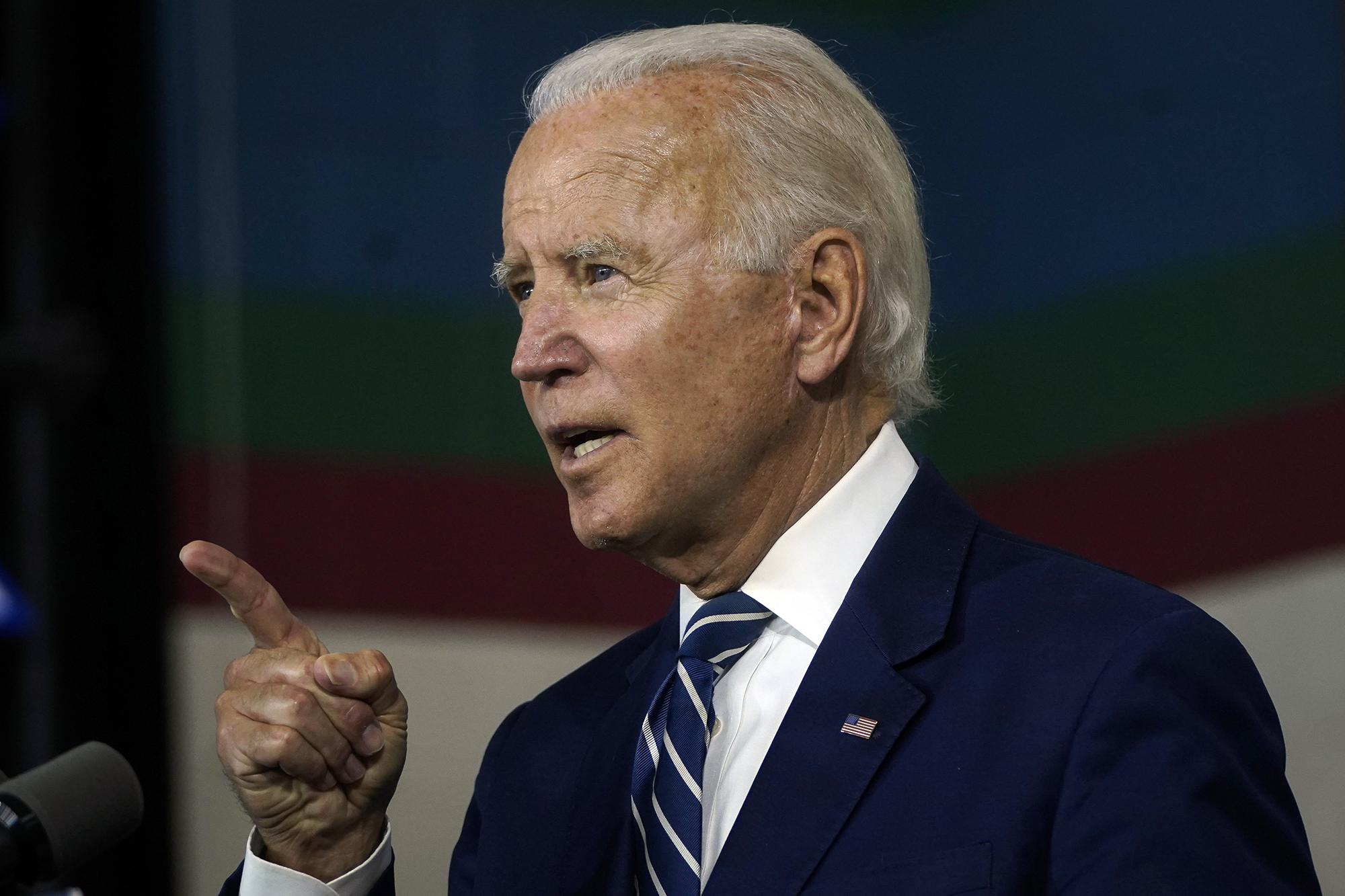 Democratic presidential candidate former Vice President Joe Biden speaks about economic recovery during a campaign event at Colonial Early Education Program at the Colwyck Center on July 21 in New Castle, Delaware.
