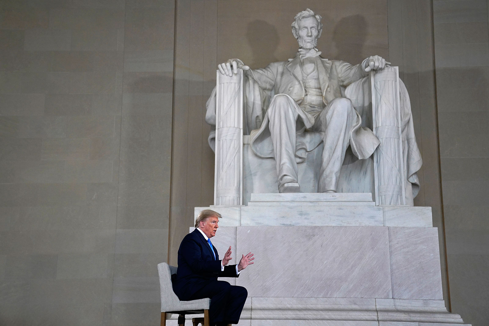 US President Donald Trump speaks during a Fox News virtual town hall from the Lincoln Memorial in Washington on May 3.