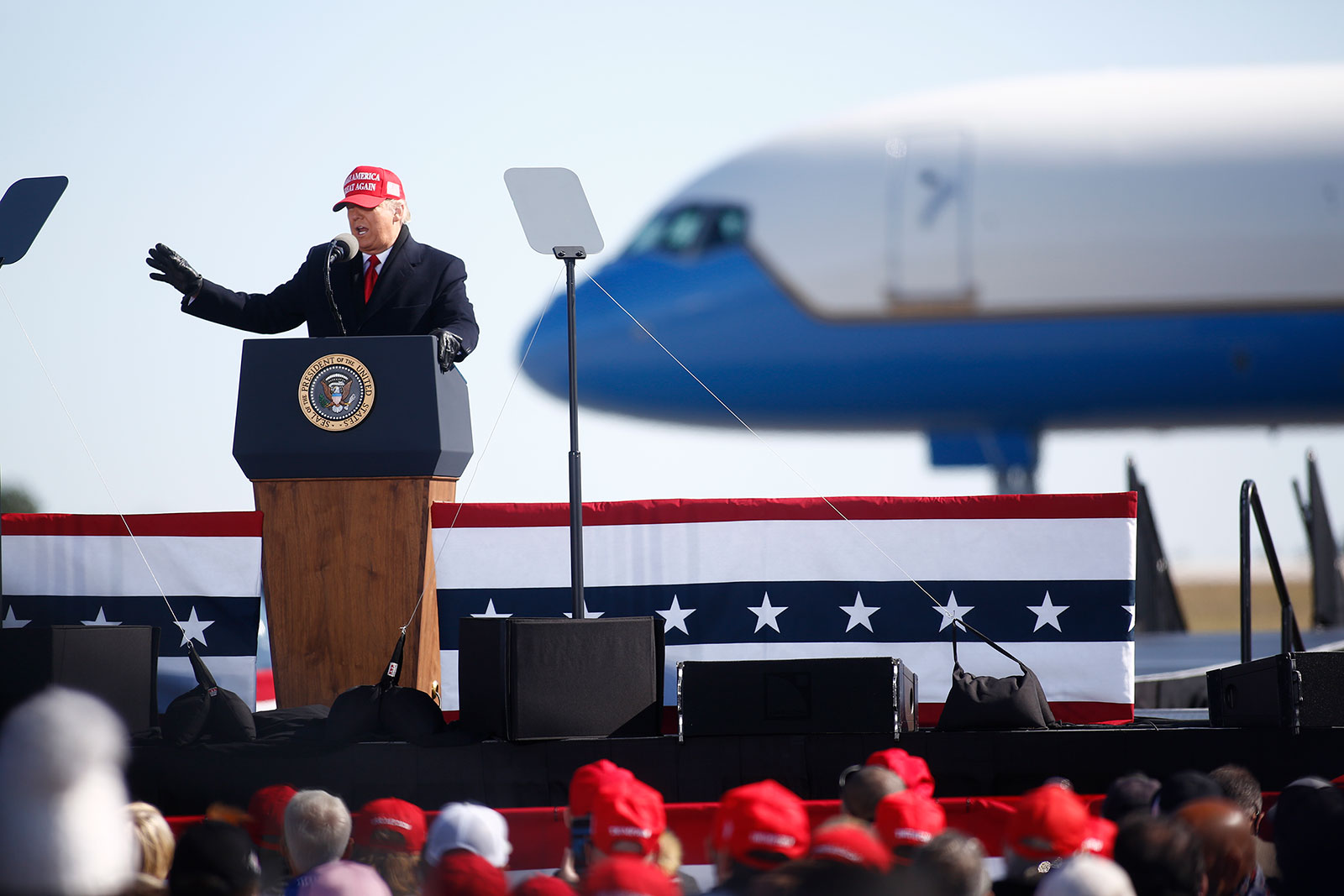 President Trump speaks during a campaign rally in Fayetteville, North Carolina, on Monday.