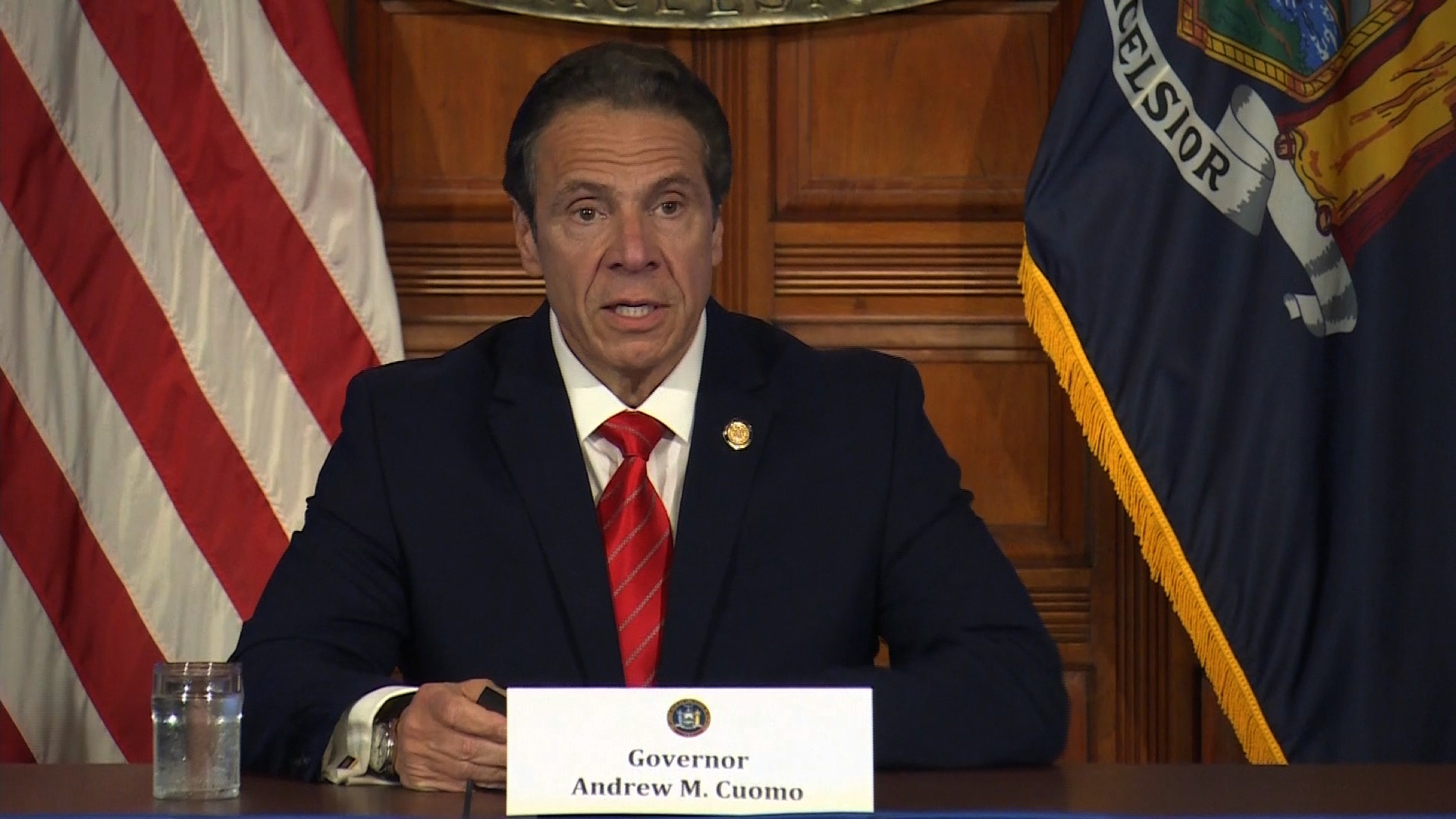 New York Gov. Andrew Cuomo speaks during a press briefing in Albany, New York, on May 1.
