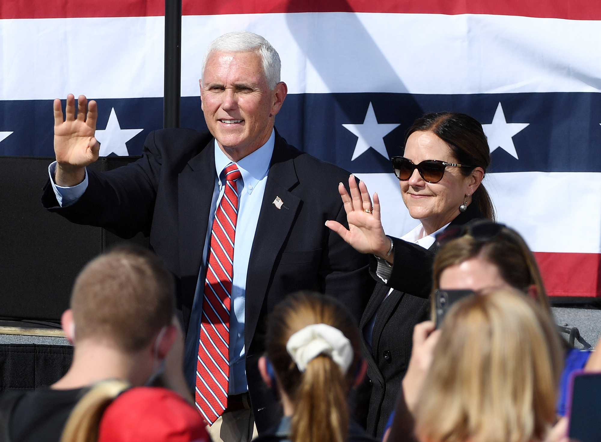 U.S. Vice President Mike Pence (L) and second lady Karen Pence greet supporters after speaking at a rally at the Boulder City Airport on October 8, 2020 in Boulder City, Nevada.