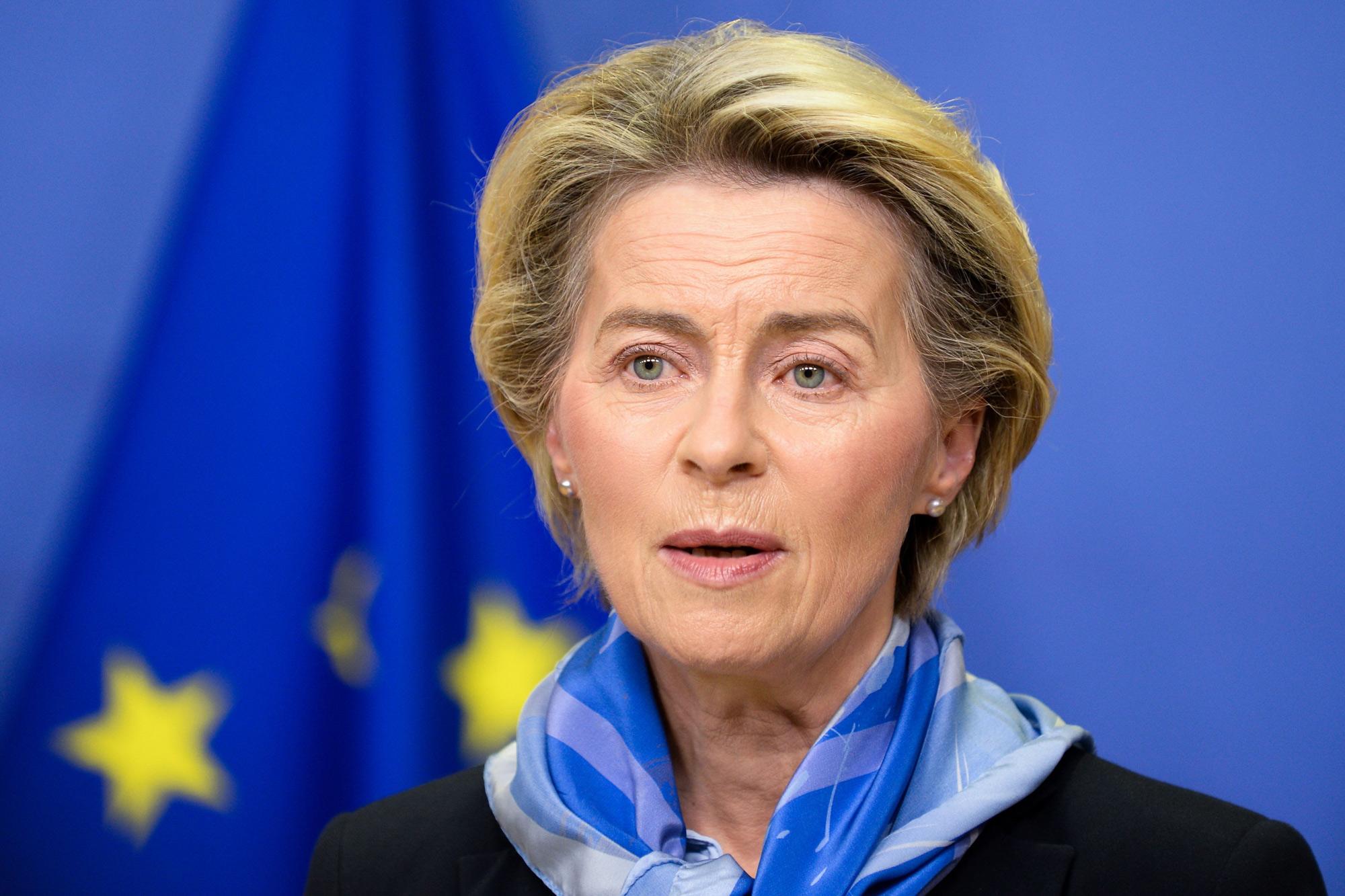 European Commission President Ursula von der Leyen gives a press statement in Brussels on December 21, 2020.
