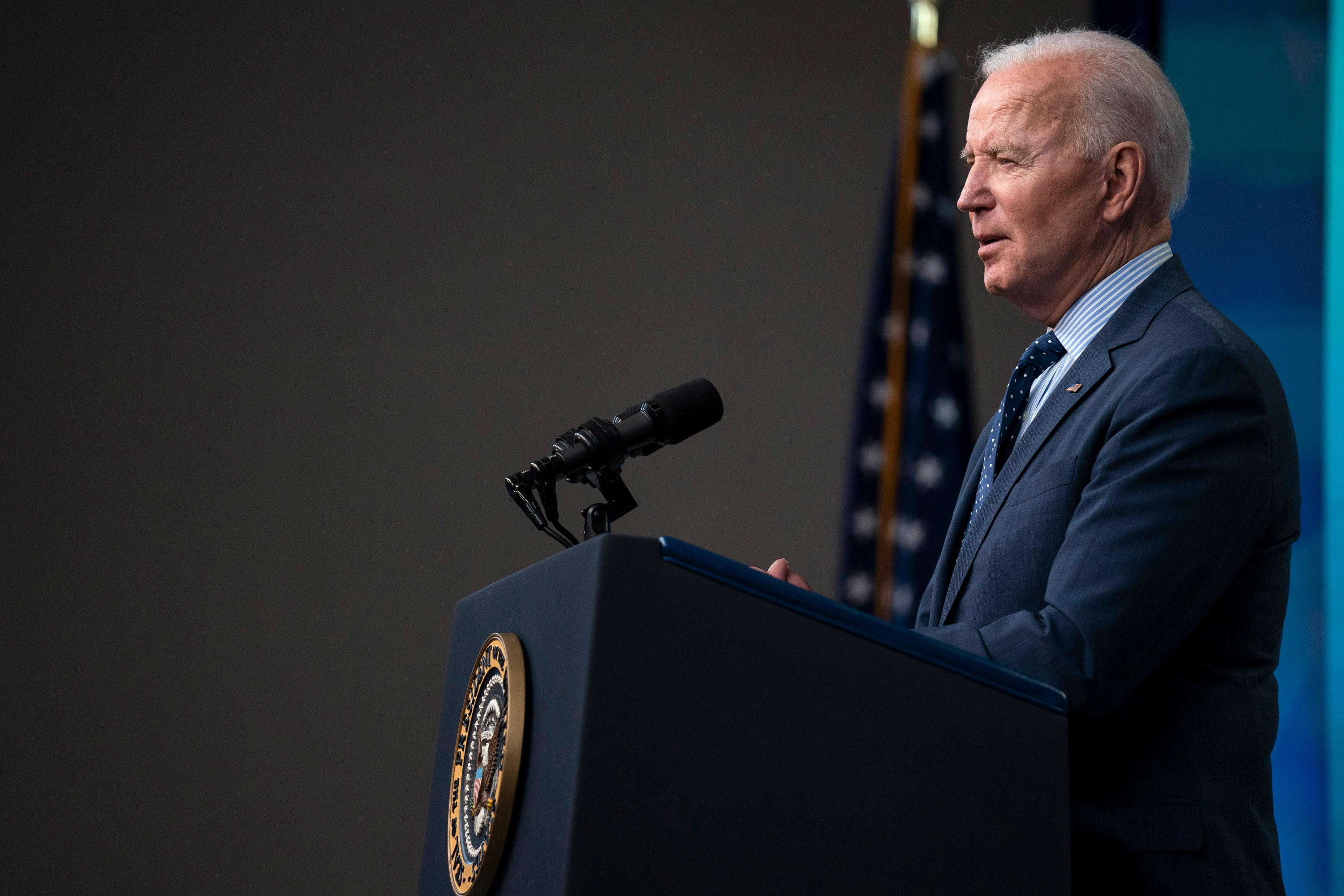 President Joe Biden speaks about the COVID-19 vaccination program in the South Court Auditorium on the White House campus on June 2 in Washington, DC.