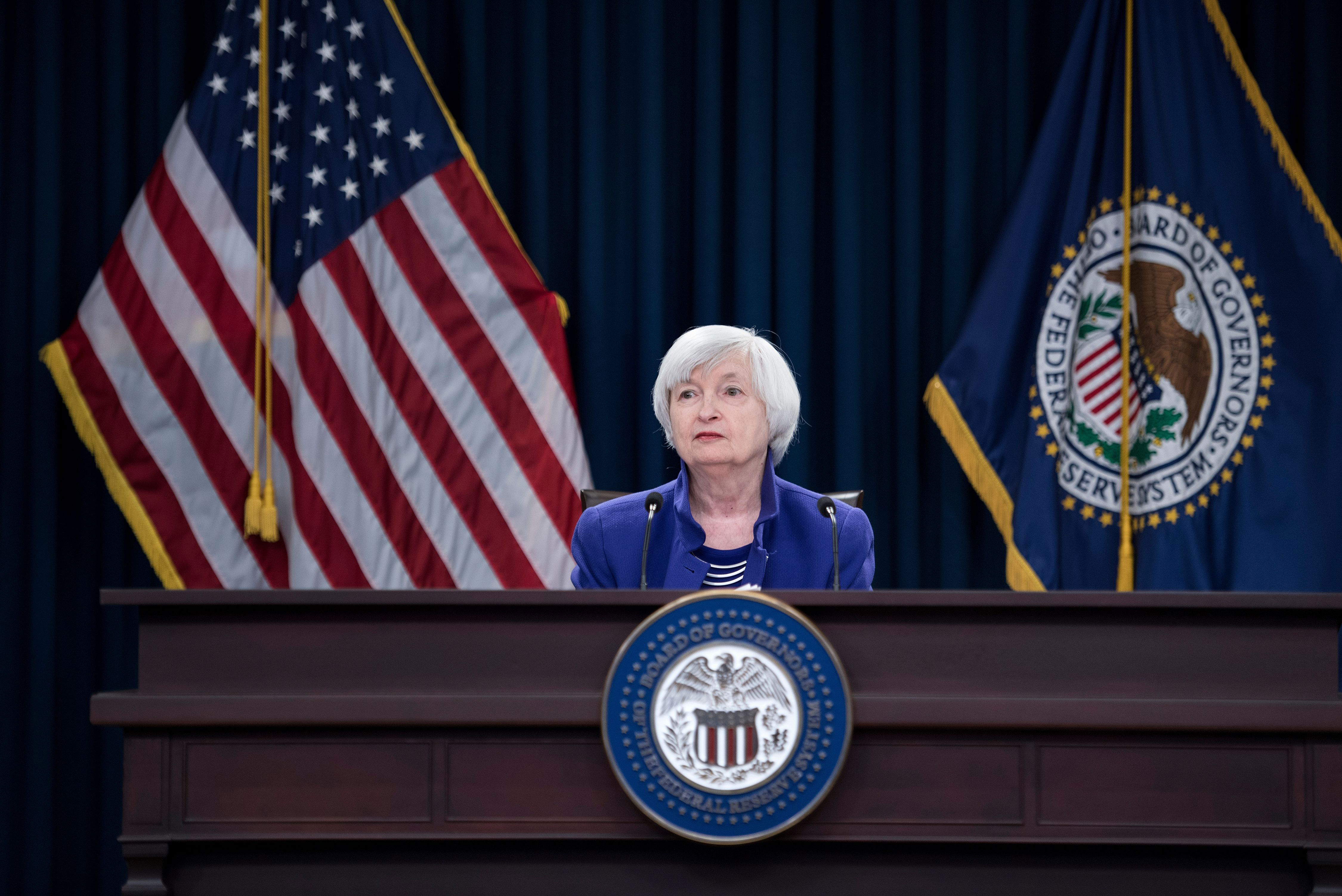 Janet Yellen, then chair of the Federal Reserve, speaks during a briefing in Washington, DC, on December 13, 2017.
