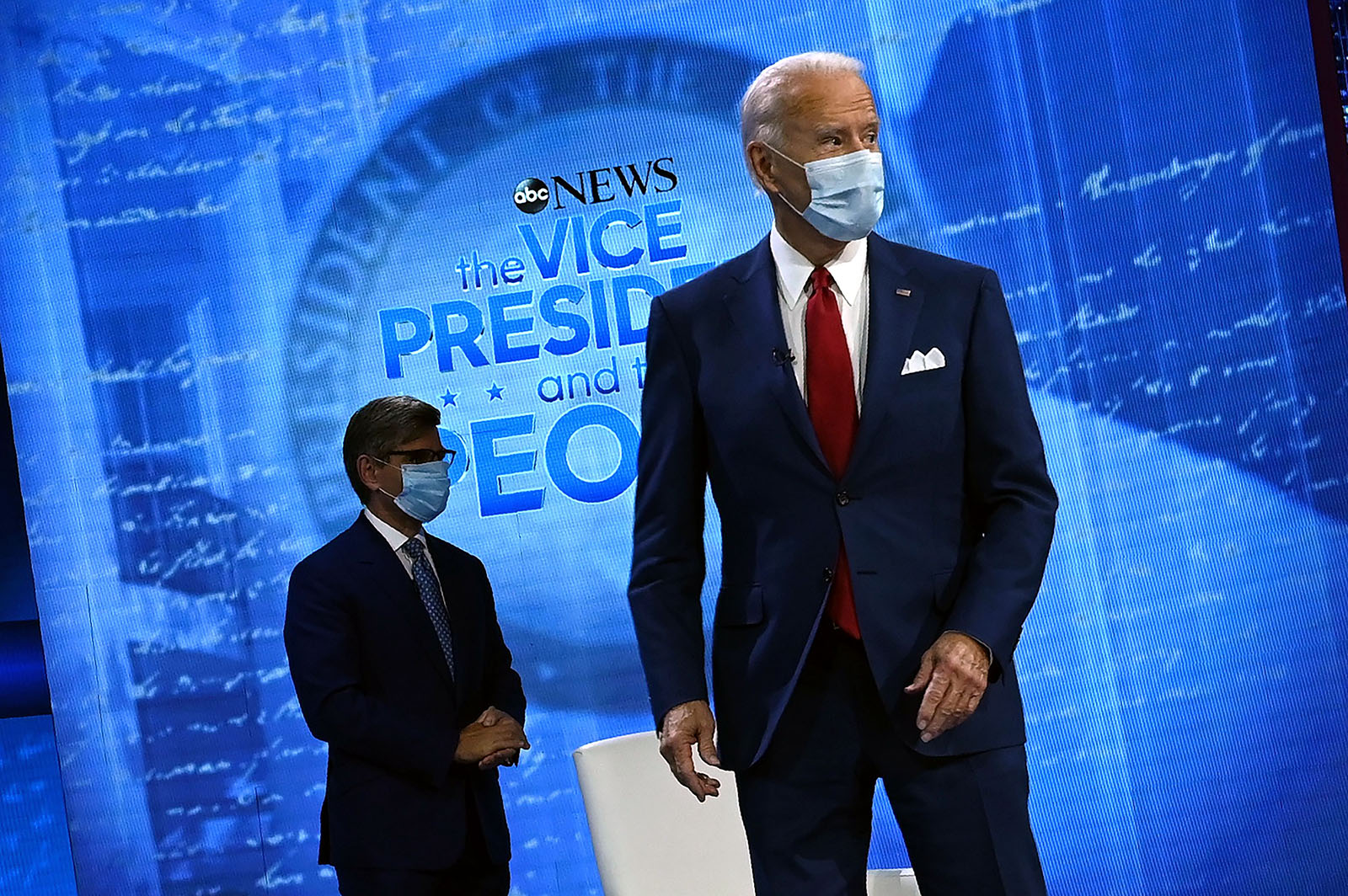 Democratic Presidential candidate Joe Biden arrive for an ABC News town hall event at the National Constitution Center in Philadelphia on Thursday.