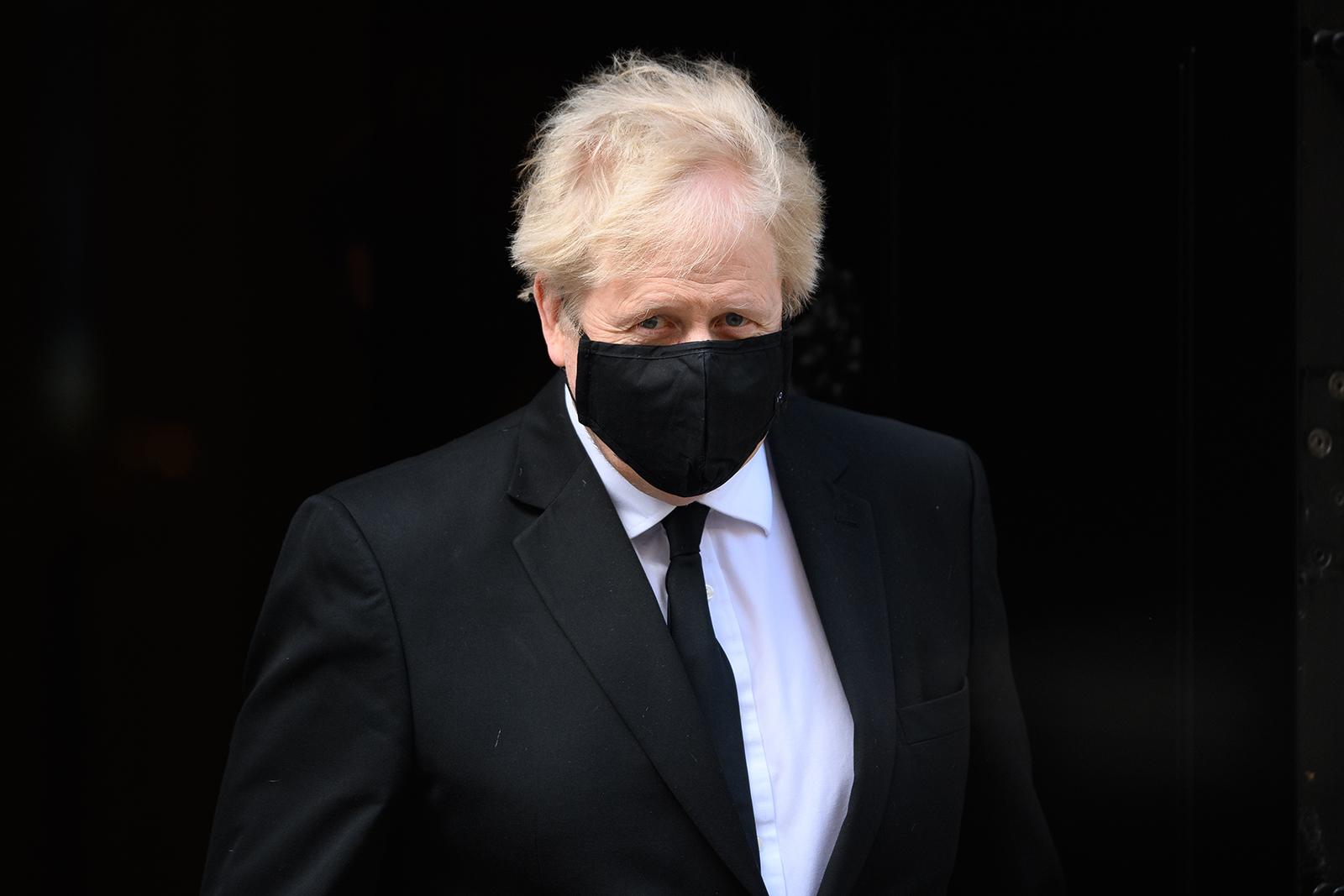 Prime Minister Boris Johnson leaves number 10, Downing Street in London, on April 12.
