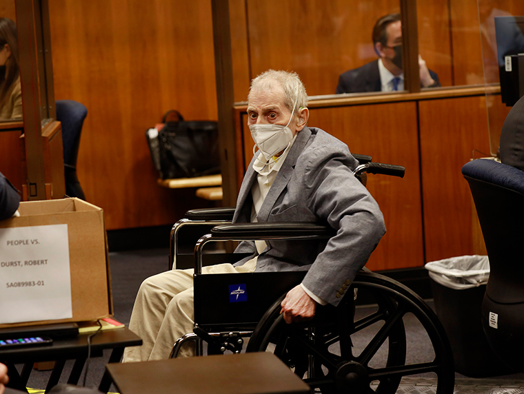 Robert Durst appears in an Inglewood courtroom with his attorneys for closing arguments presented by the prosecution in the murder trial on September 8, in Inglewood, California.