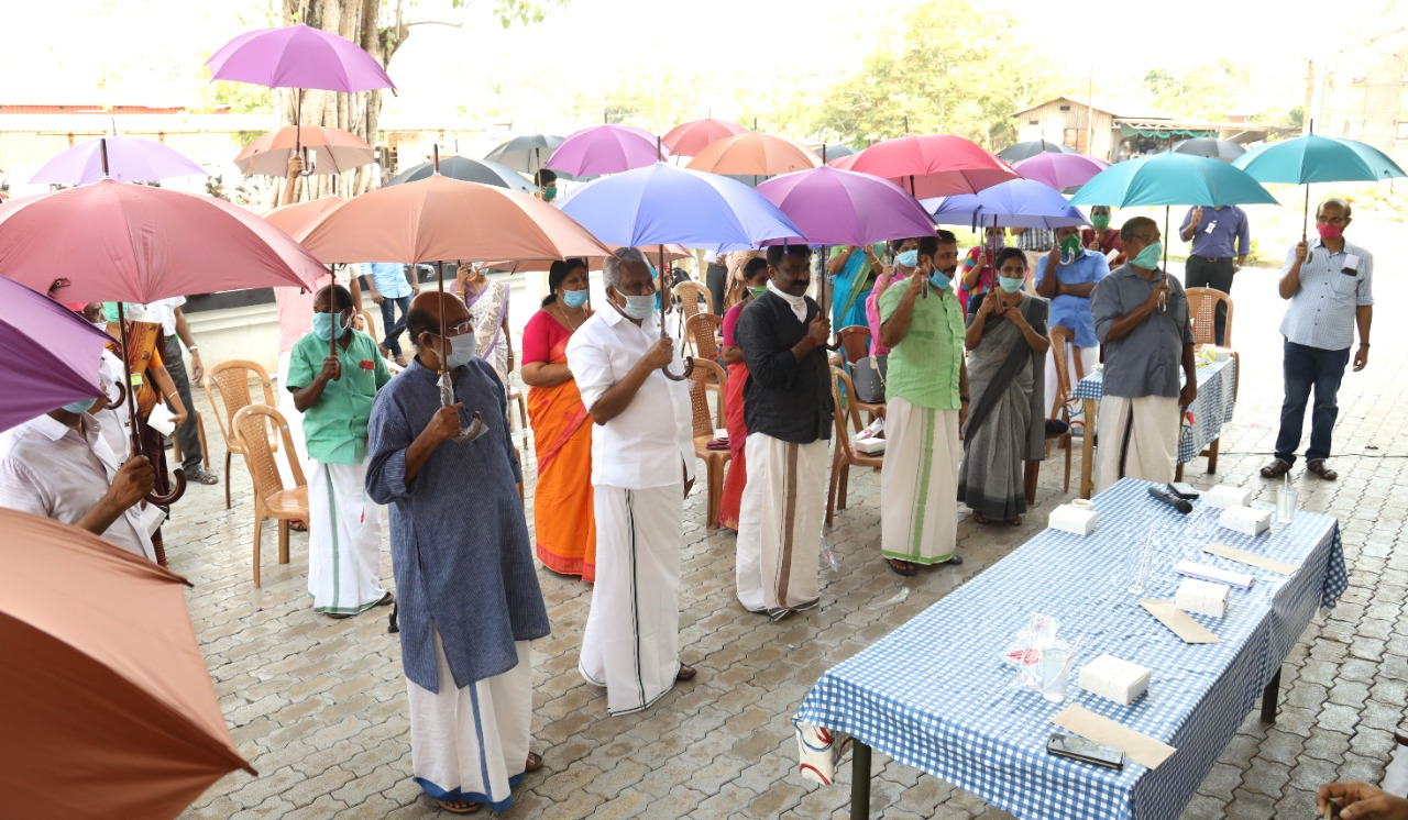 Villagers in Thannermukkom at the launch of the initiative Friday.