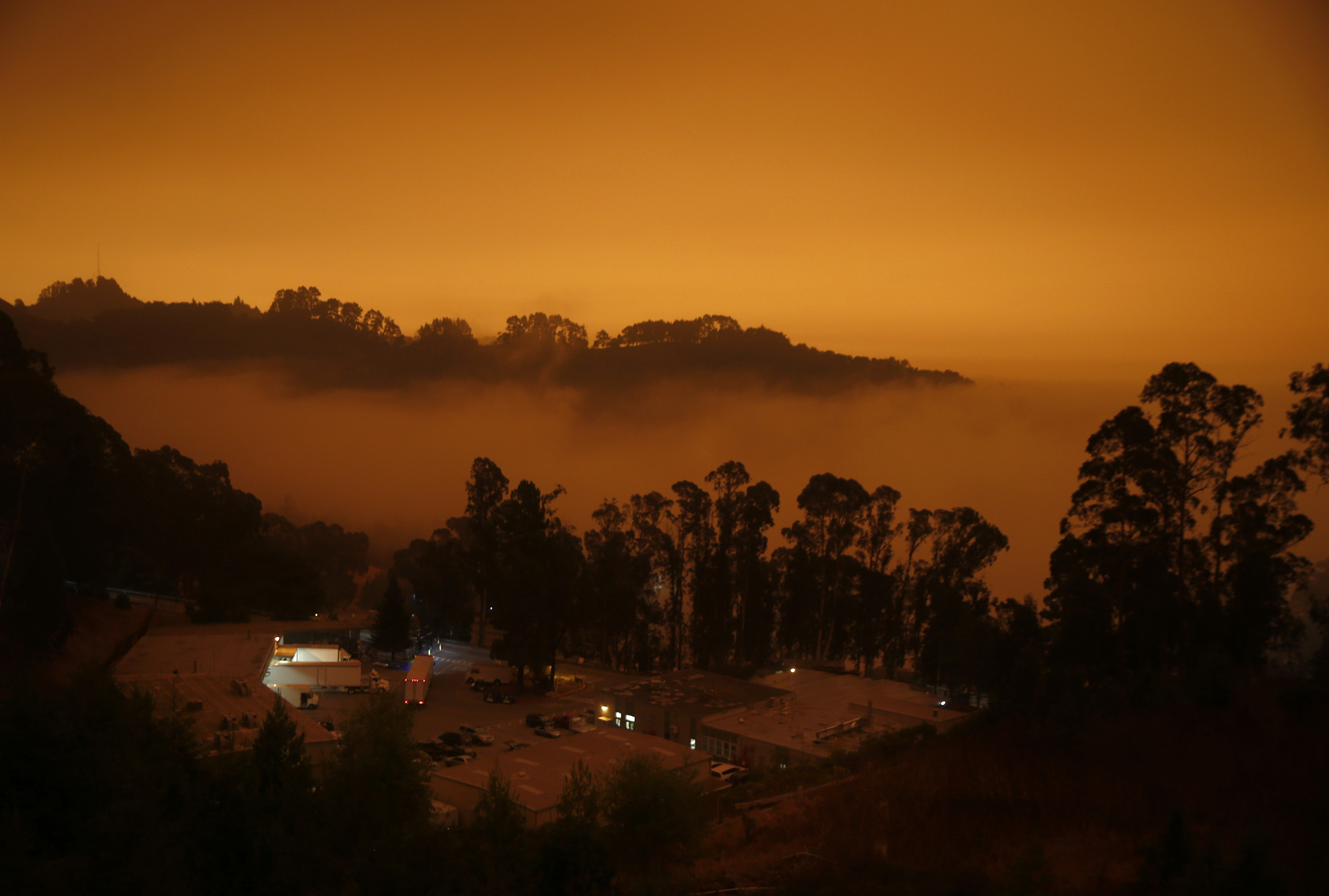 Fog and smoke looms over the Lawrence Berkeley National Laboratory in Berkeley, California, on September 9.