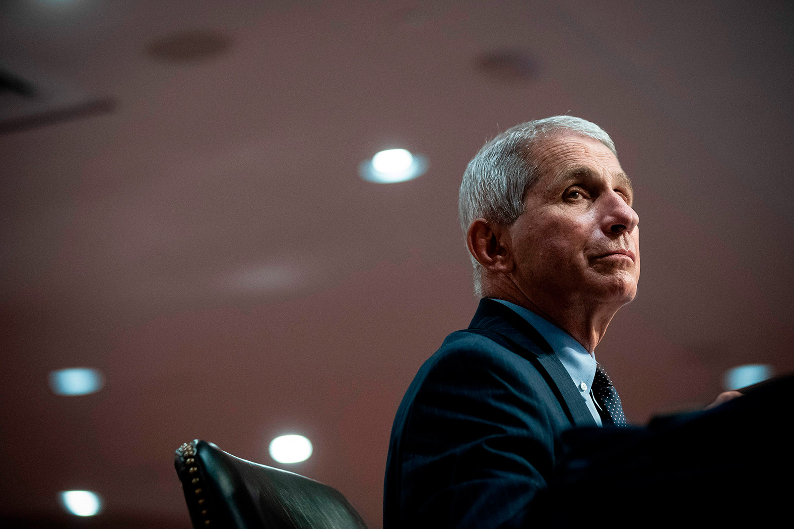 Dr. Anthony Fauci listens during a Senate Health, Education, Labor and Pensions Committee hearing in Washington, DC, on June 30.