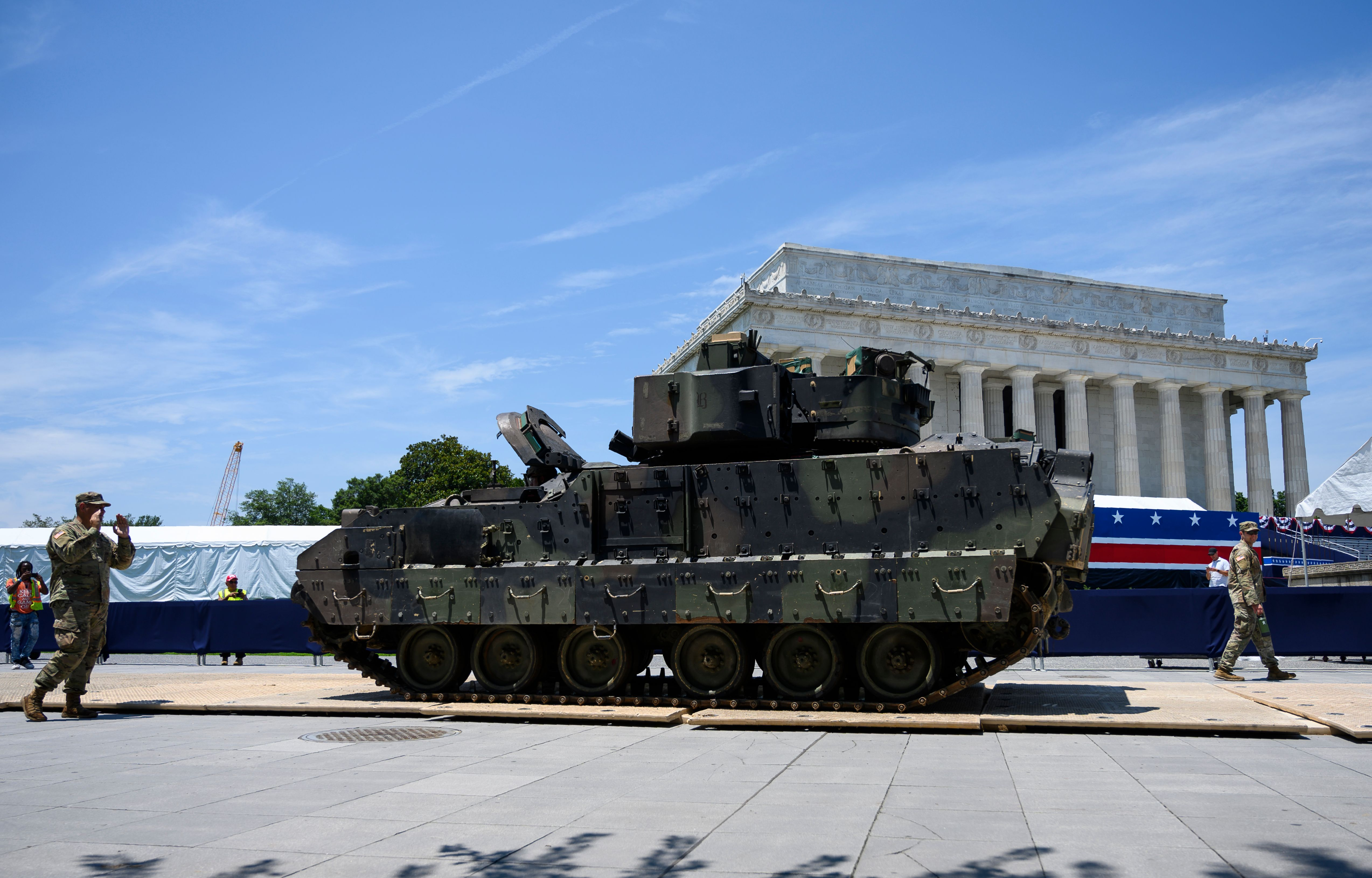 Members of the US military run a Bradley Fighting Vehicle on July 3, 2019 in preparation for