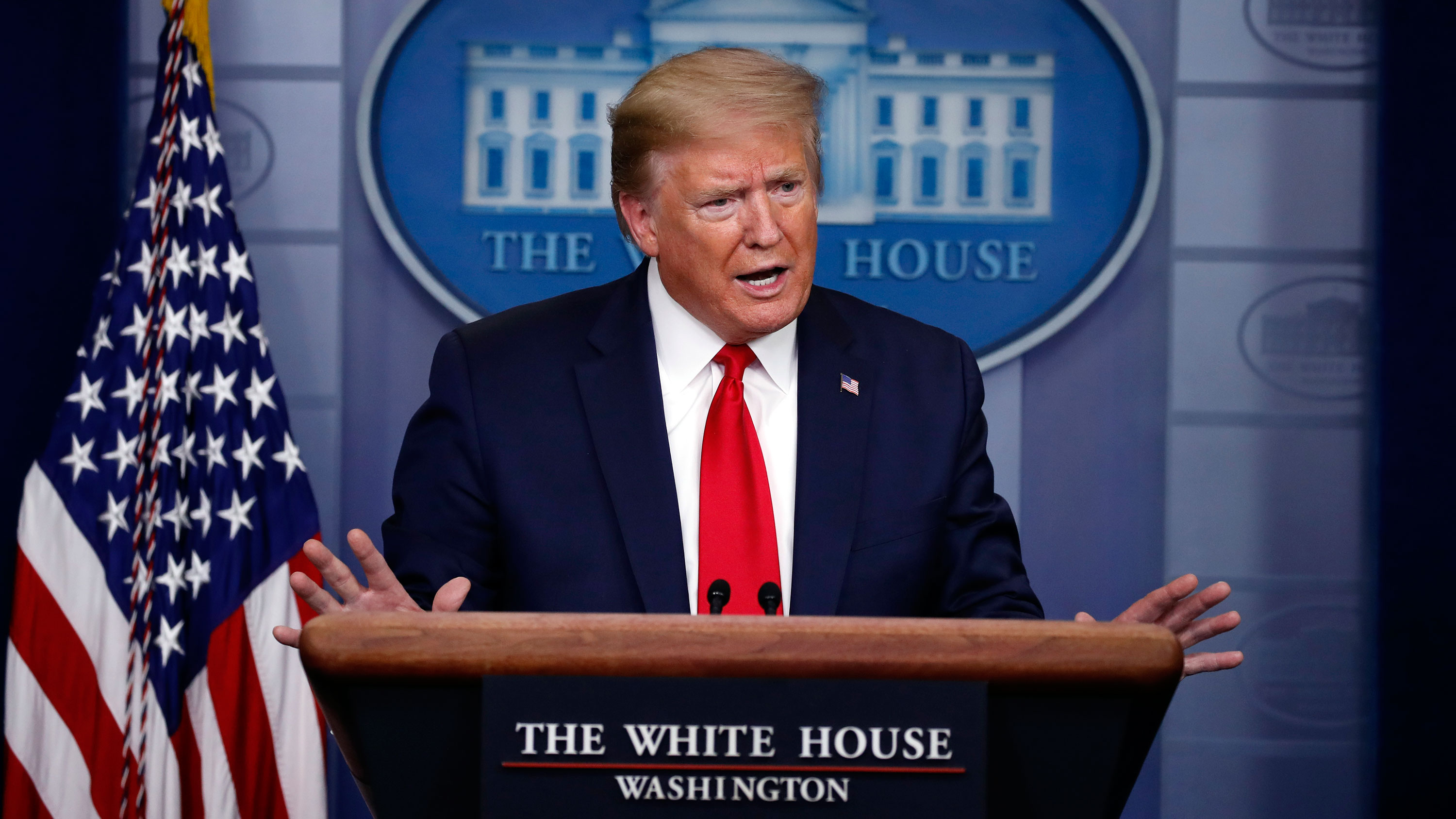President Donald Trump speaks during the daily coronavirus briefing at the White House on April 22.