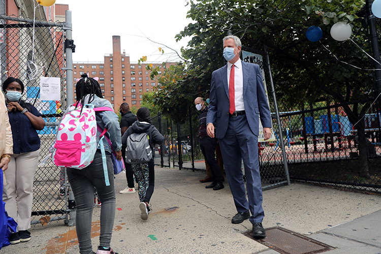 New York City Mayor Bill de Blasio as he welcomed elementary school students back to the city's public schools for in-person learning on September 29, 2020 in New York City.
