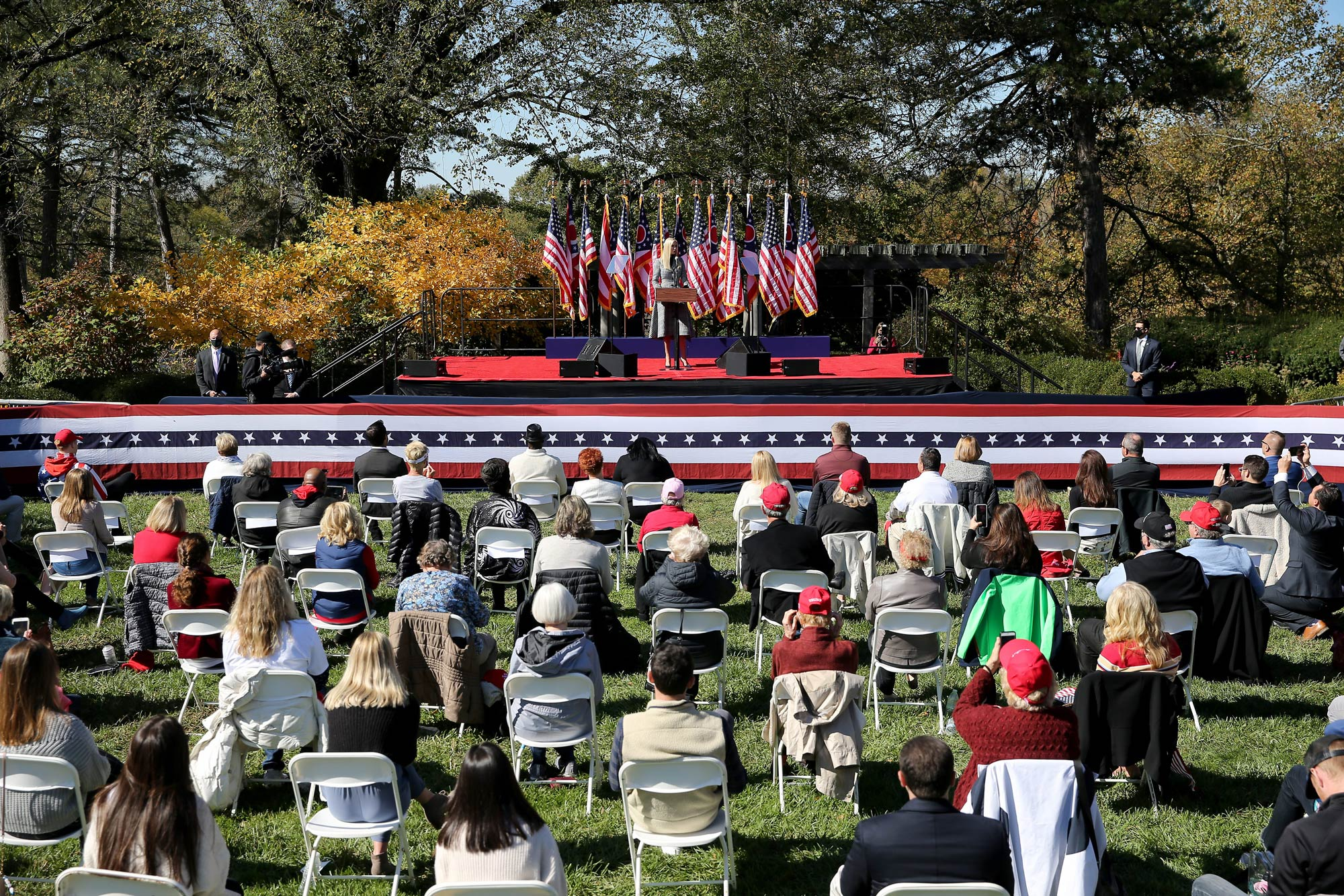 Ivanka Trump speaks at a campaign rally on October 16 at Ault Park in Cincinnati, Ohio.