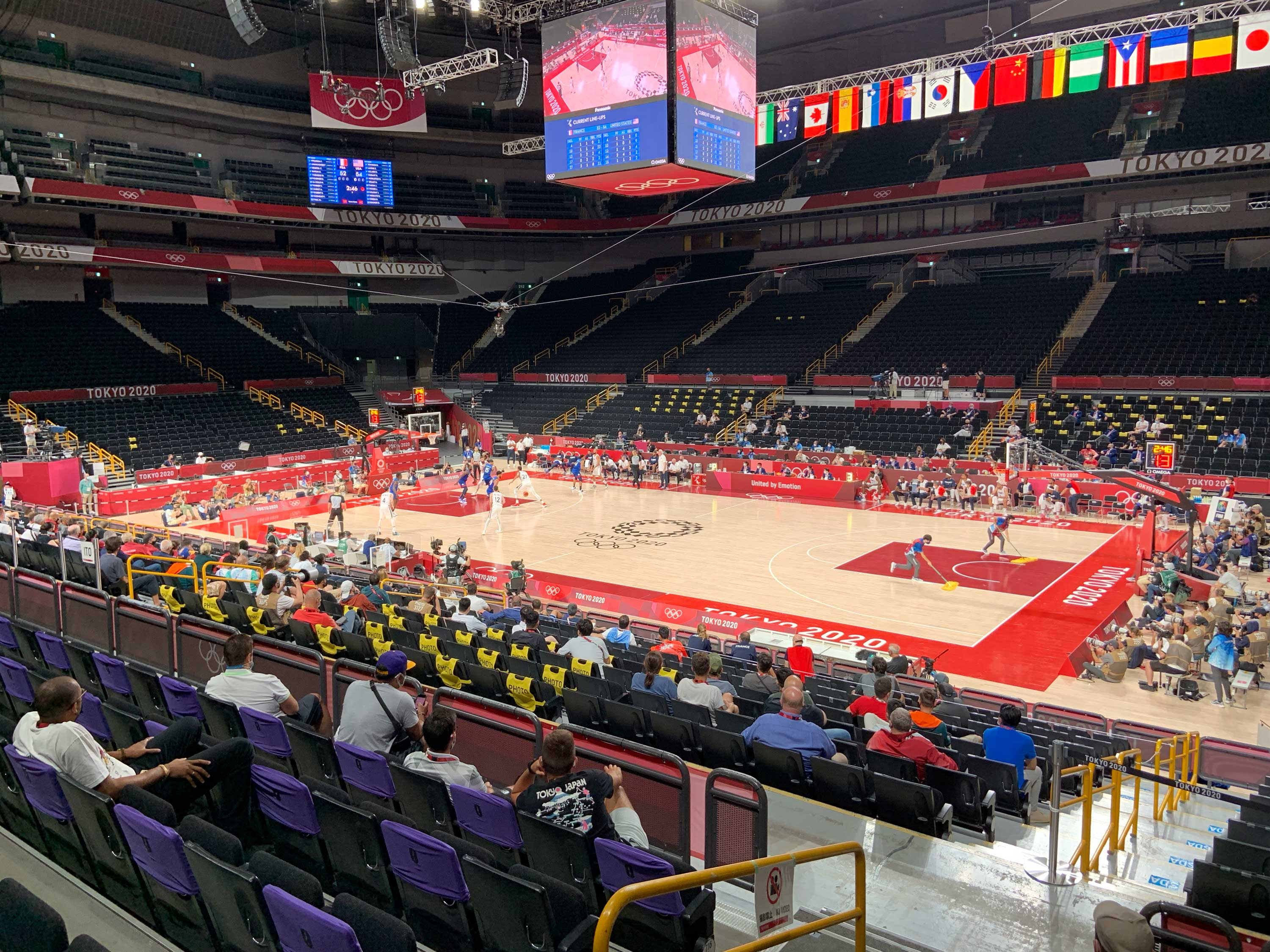 The nearly empty stadium is seen from CNN's seats at Sunday night's men's basketball game between USA and France.