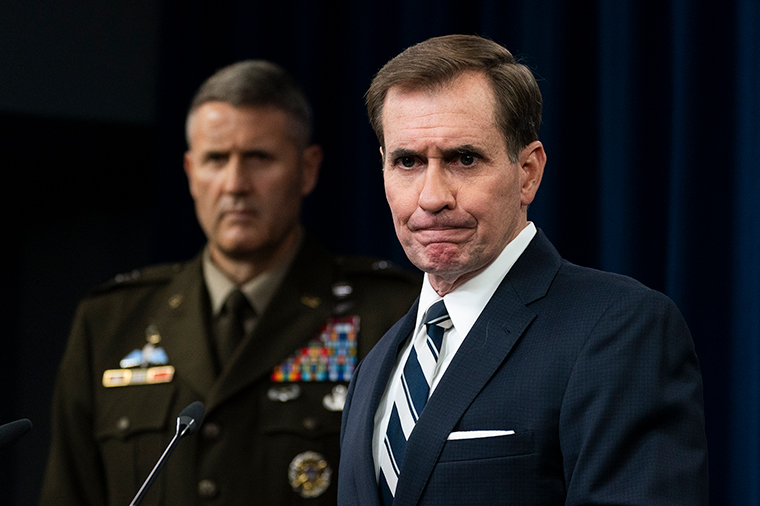 Pentagon spokesman John Kirby with U.S. Army Maj. Gen. William Taylor, Joint Staff Operations, speaks about the situation in Afghanistan during a briefing at the Pentagon in Washington, Monday, August 23.