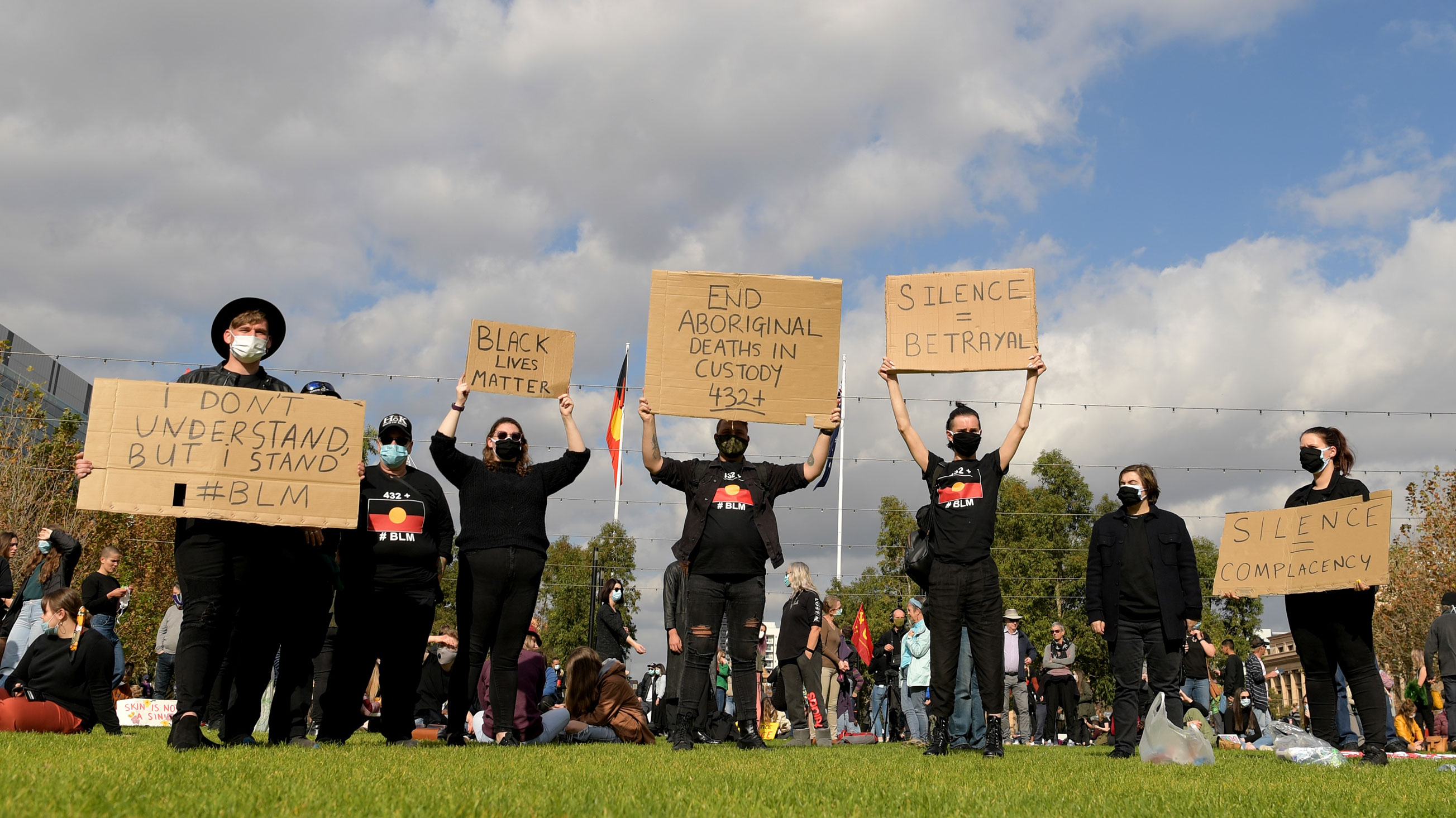 Protesters gather to show solidarity with Black Lives Matter protests in the United States on June 6 in Adelaide, Australia.