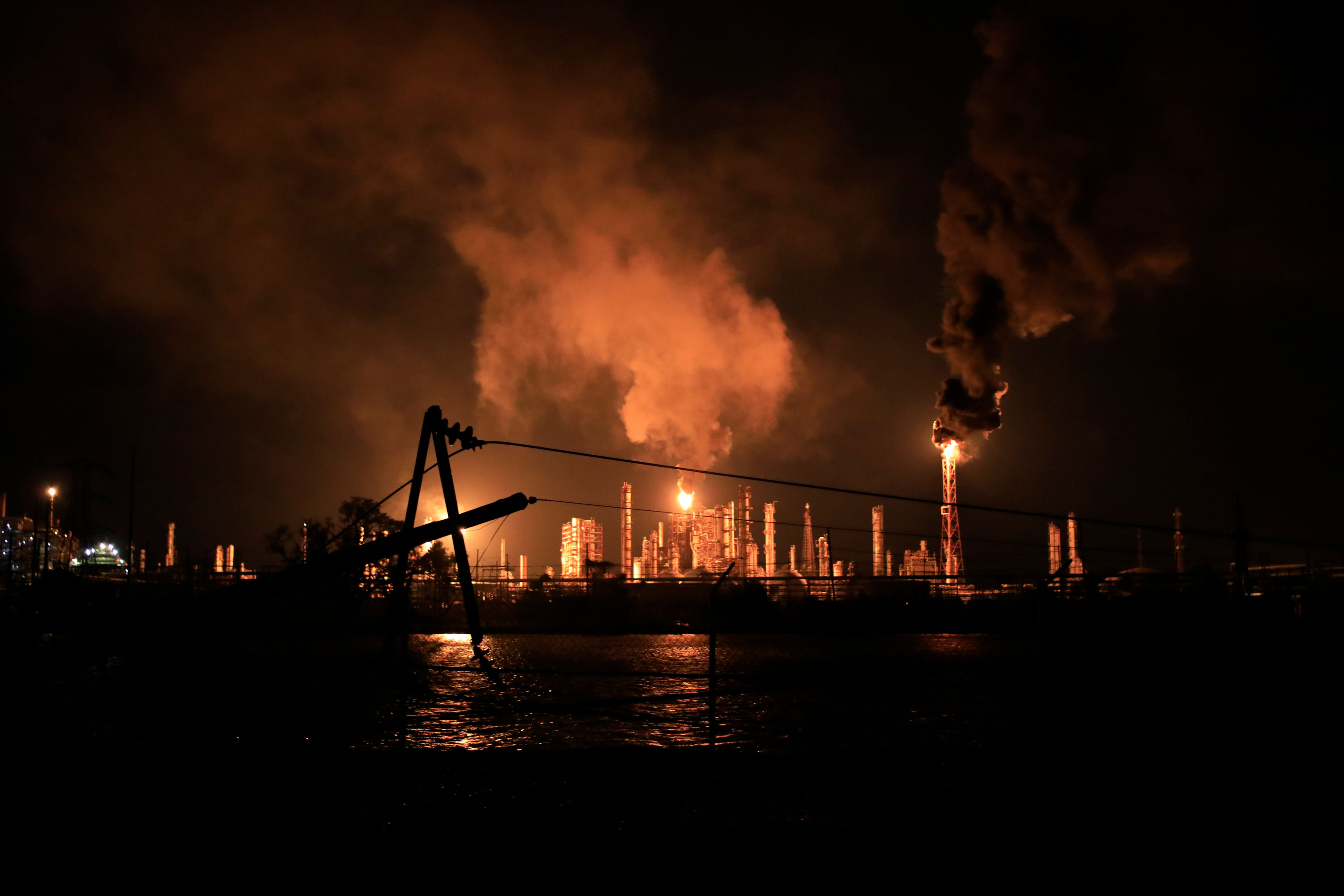 Shell's Norco refinery is seen during a power outage caused by Hurricane Ida in LaPlace, Louisiana, in the early hours of August 30.